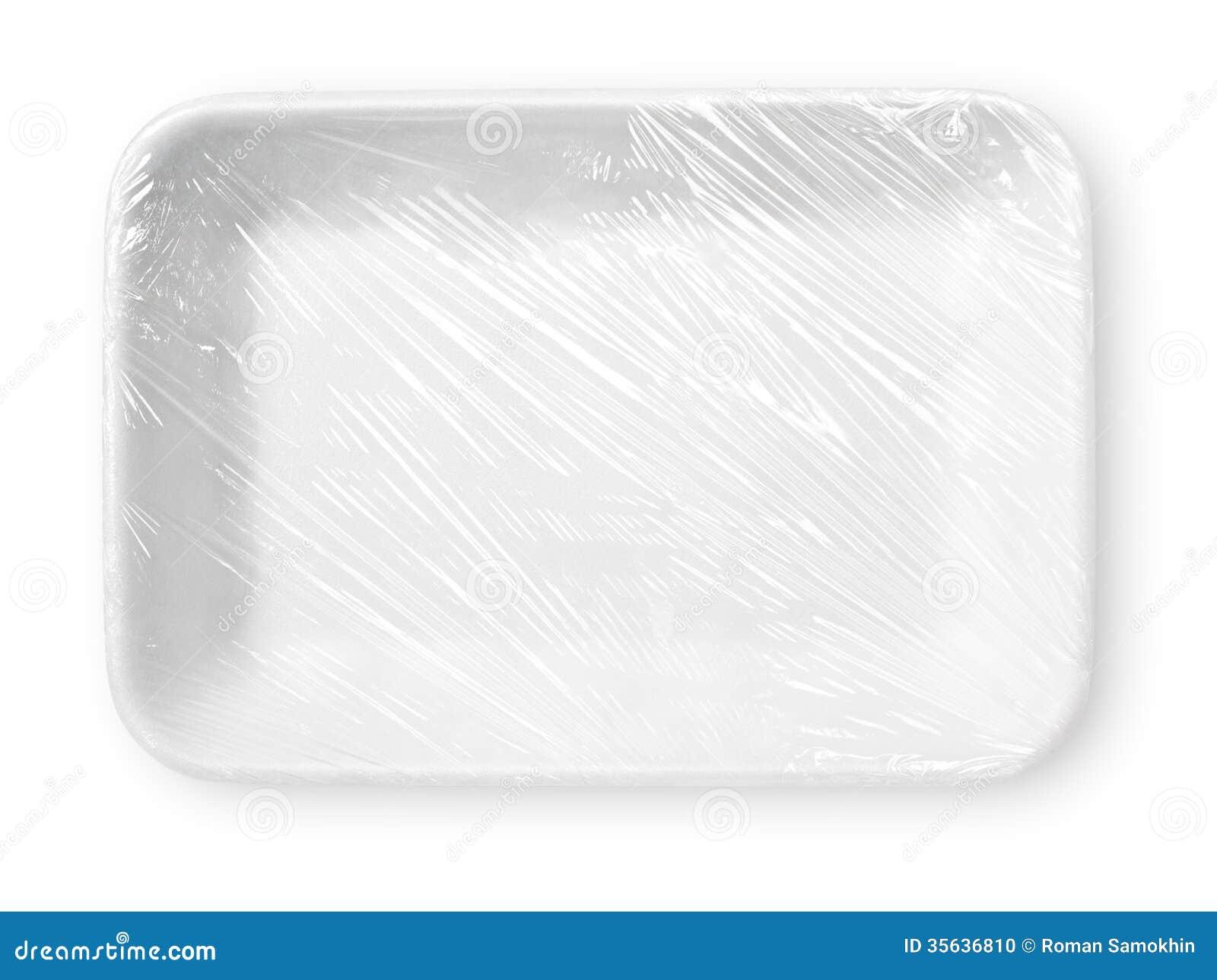 被包裹的白色聚苯乙烯泡沫塑料食物盘子