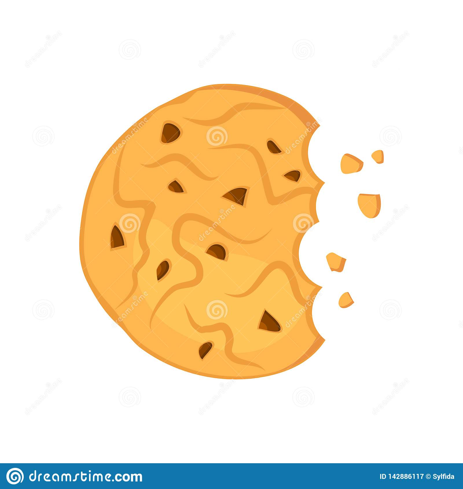 被咬住的巧克力麦甜饼 r
