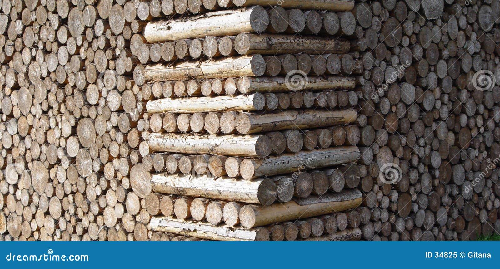 被堆积的木头