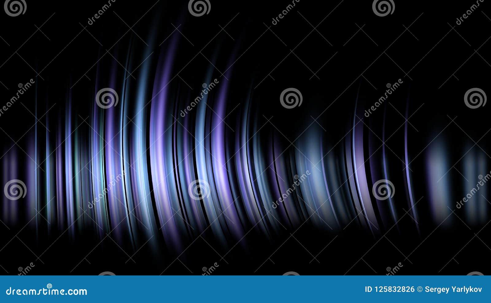 被弄脏的蓝色的抽象图象 在黑背景的白色和桃红色和黄灯与锋利的线