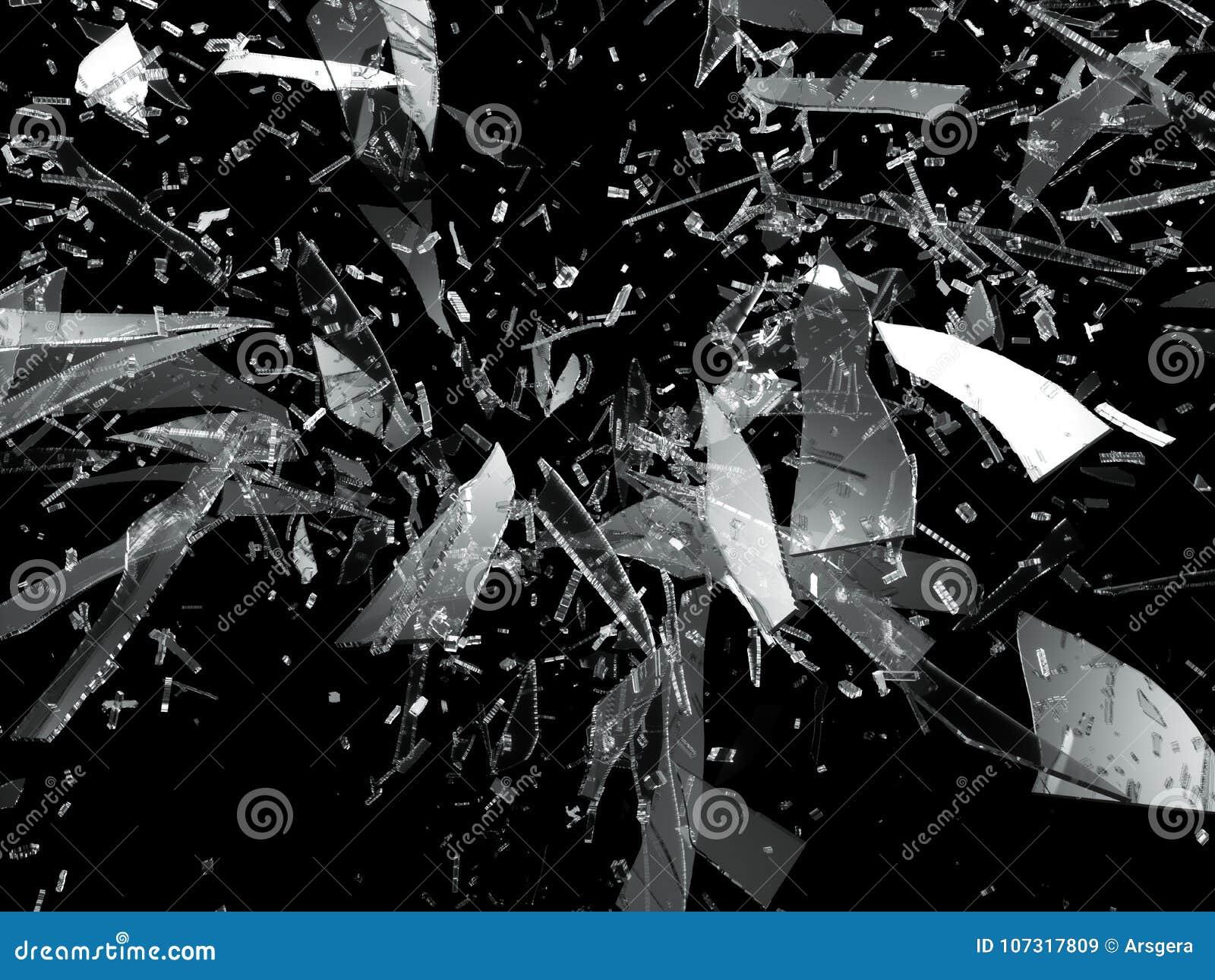 被打碎的或捣毁的玻璃锋利的片断