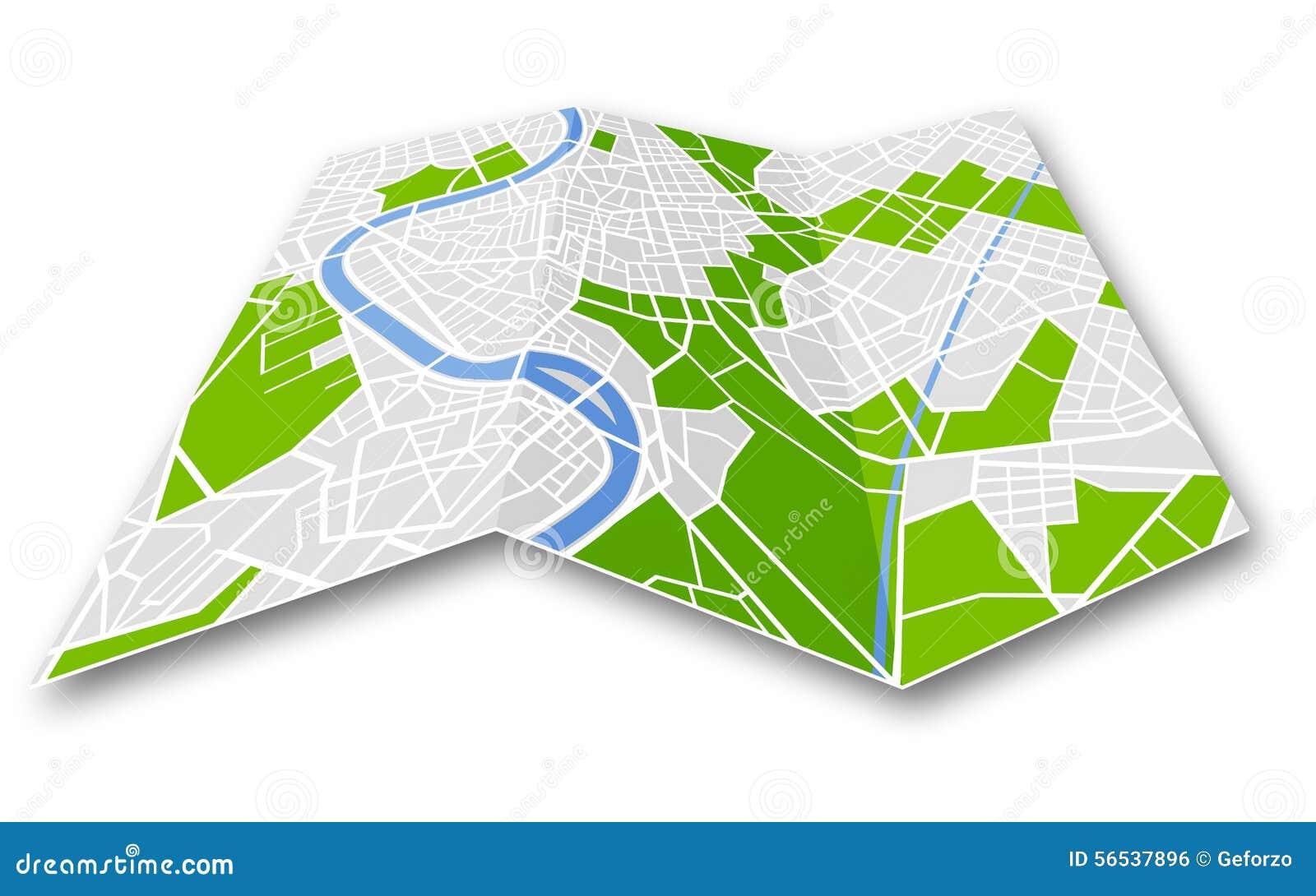 被折叠的普通城市地图