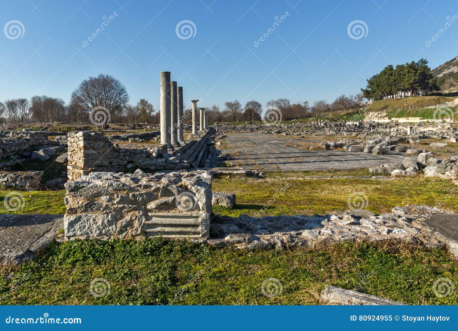 被排行的专栏在古老Philippi,希腊考古学区域