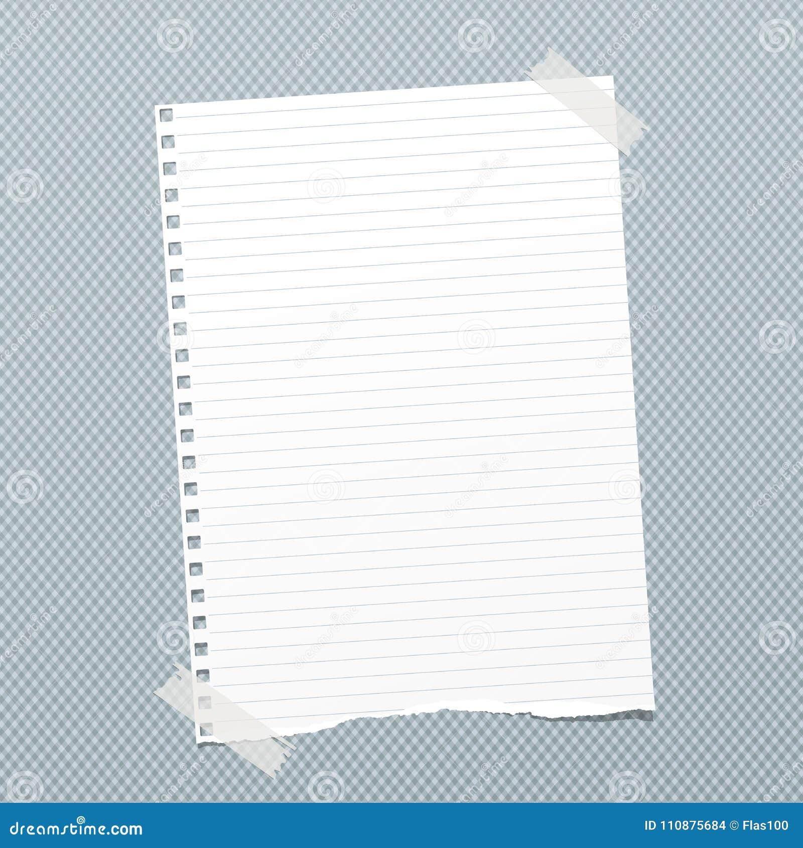 被撕毁的白色排行了笔记,文本的笔记本纸板料困住与稠粘的磁带在蓝色被摆正的背景