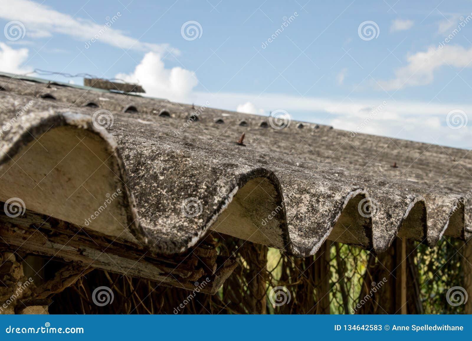被放弃的亚洲鸡舍特写镜头肮脏的发霉的波纹状的屋顶有生锈的铁丝网的-与云彩的蓝色明亮的天空