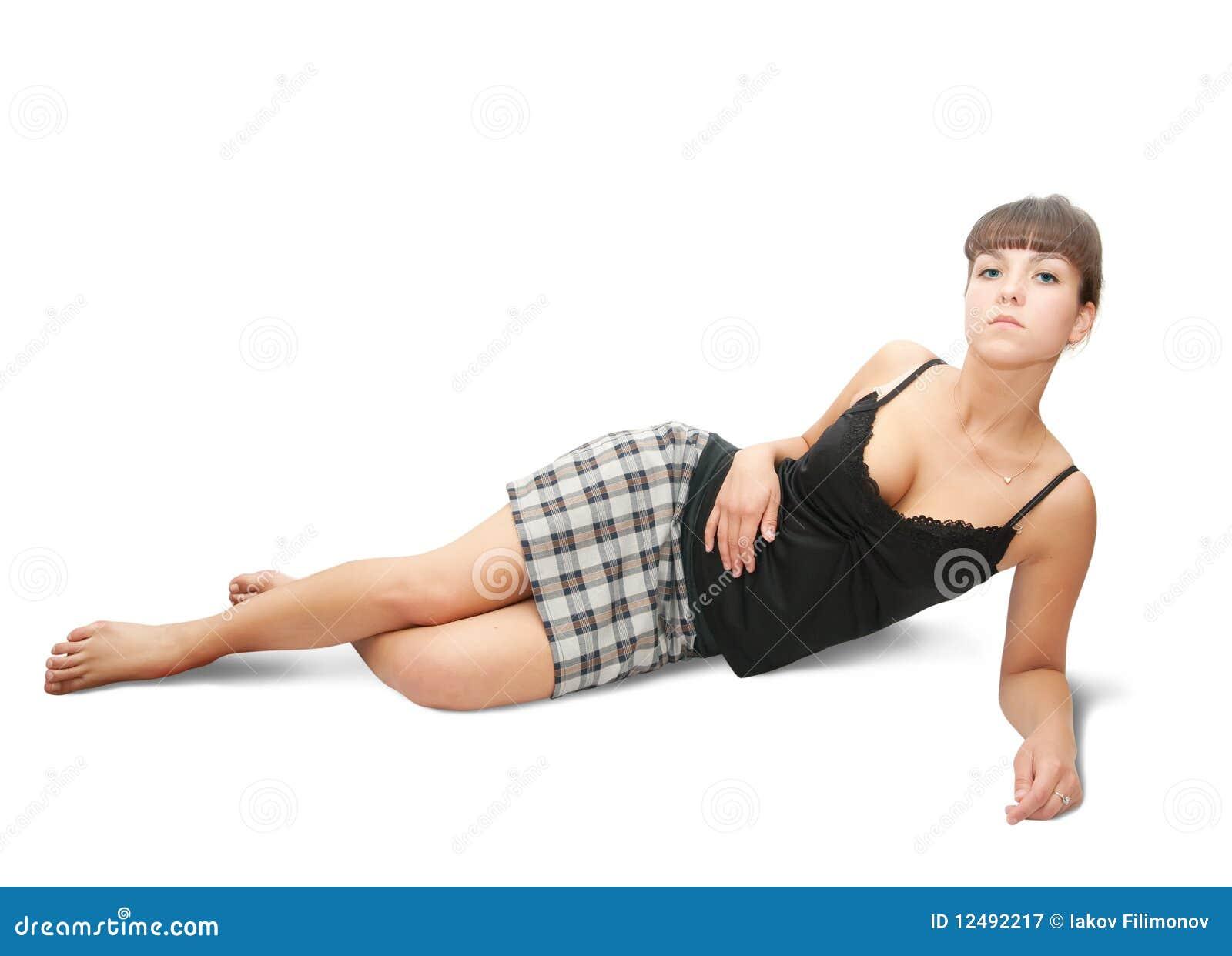 被检查的女孩性感的裙子