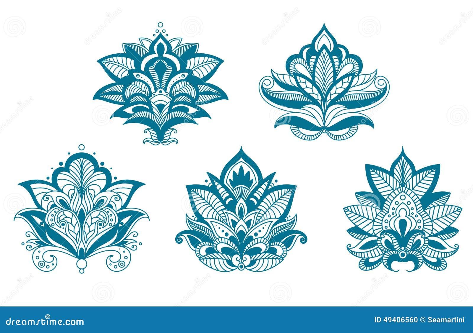 被概述的佩兹利鞋带蓝色花