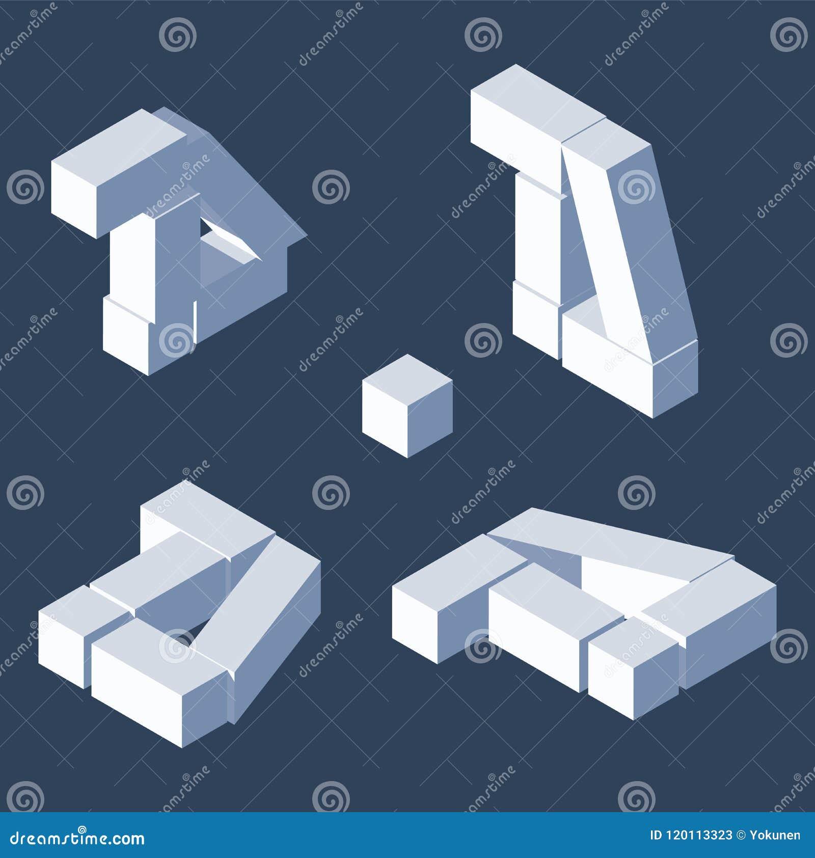 被毁坏的印刷体字母d在各种各样节略 等轴测图,有益于写和在上写字 立方体3d砖