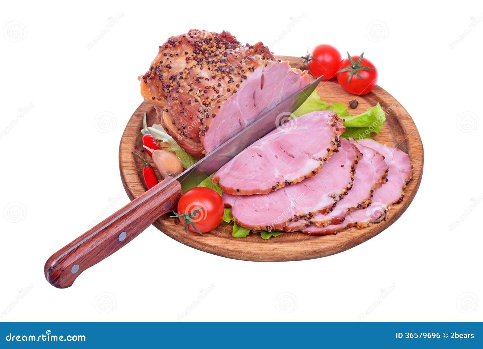 被烘烤的猪肉脖子,蕃茄,胡椒,大蒜