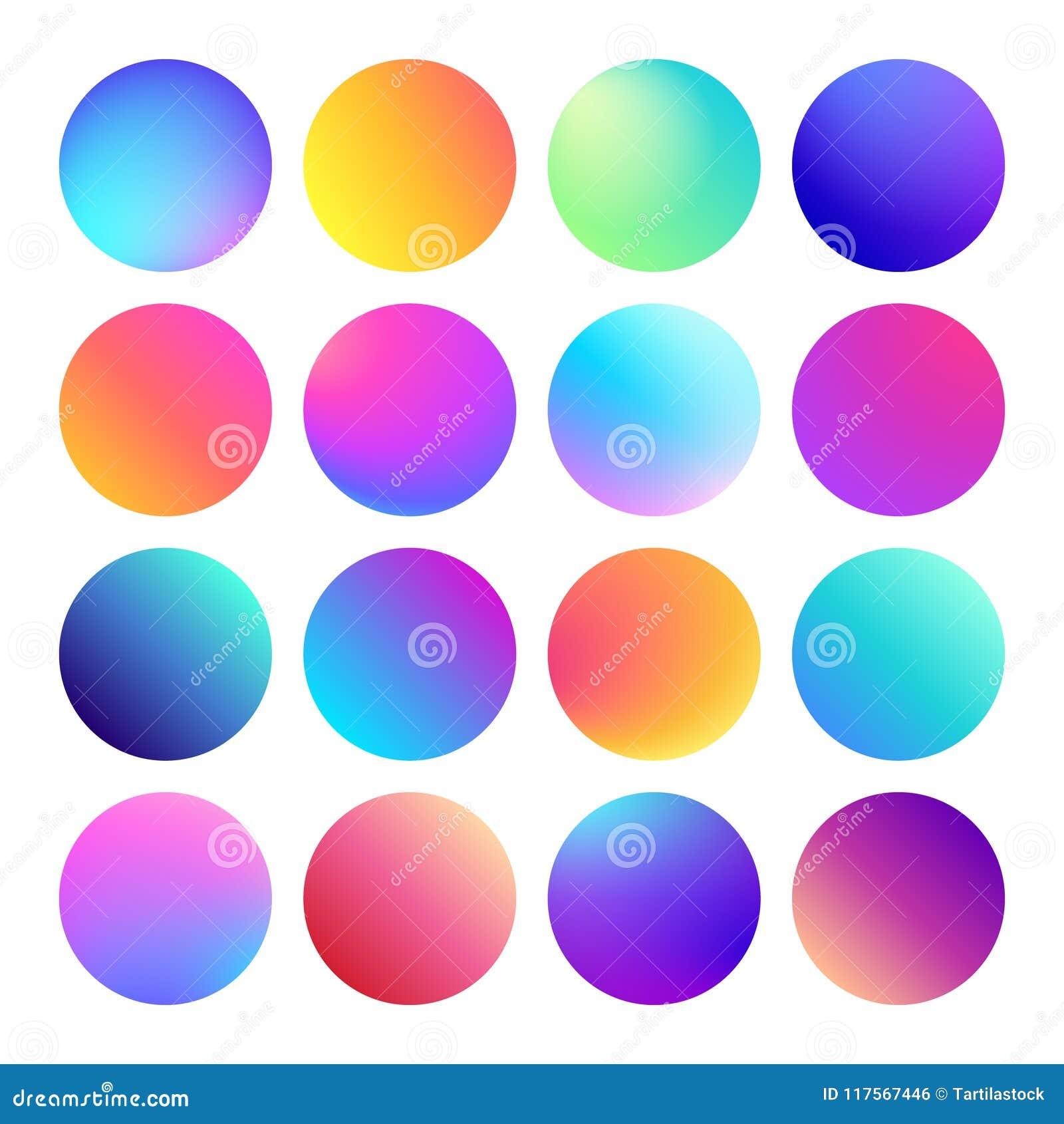 被环绕的全息照相的梯度球形按钮 多色可变的圈子梯度、五颜六色的圆的按钮或者生动的颜色