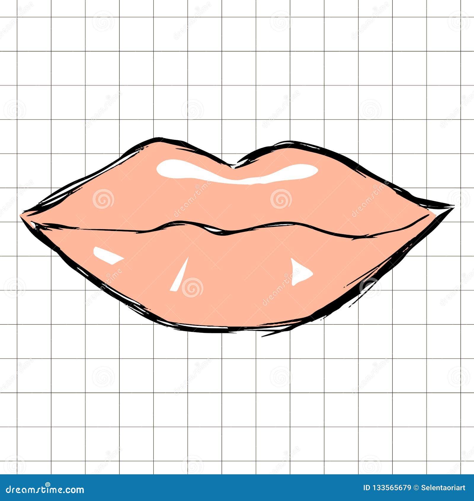 被画的女性桃红色嘴唇