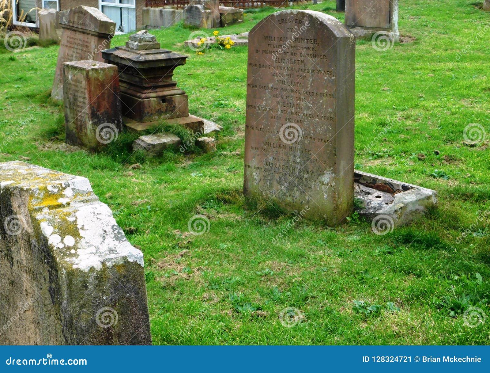 被破坏的教会和古老坟场,南艾尔郡,苏格兰