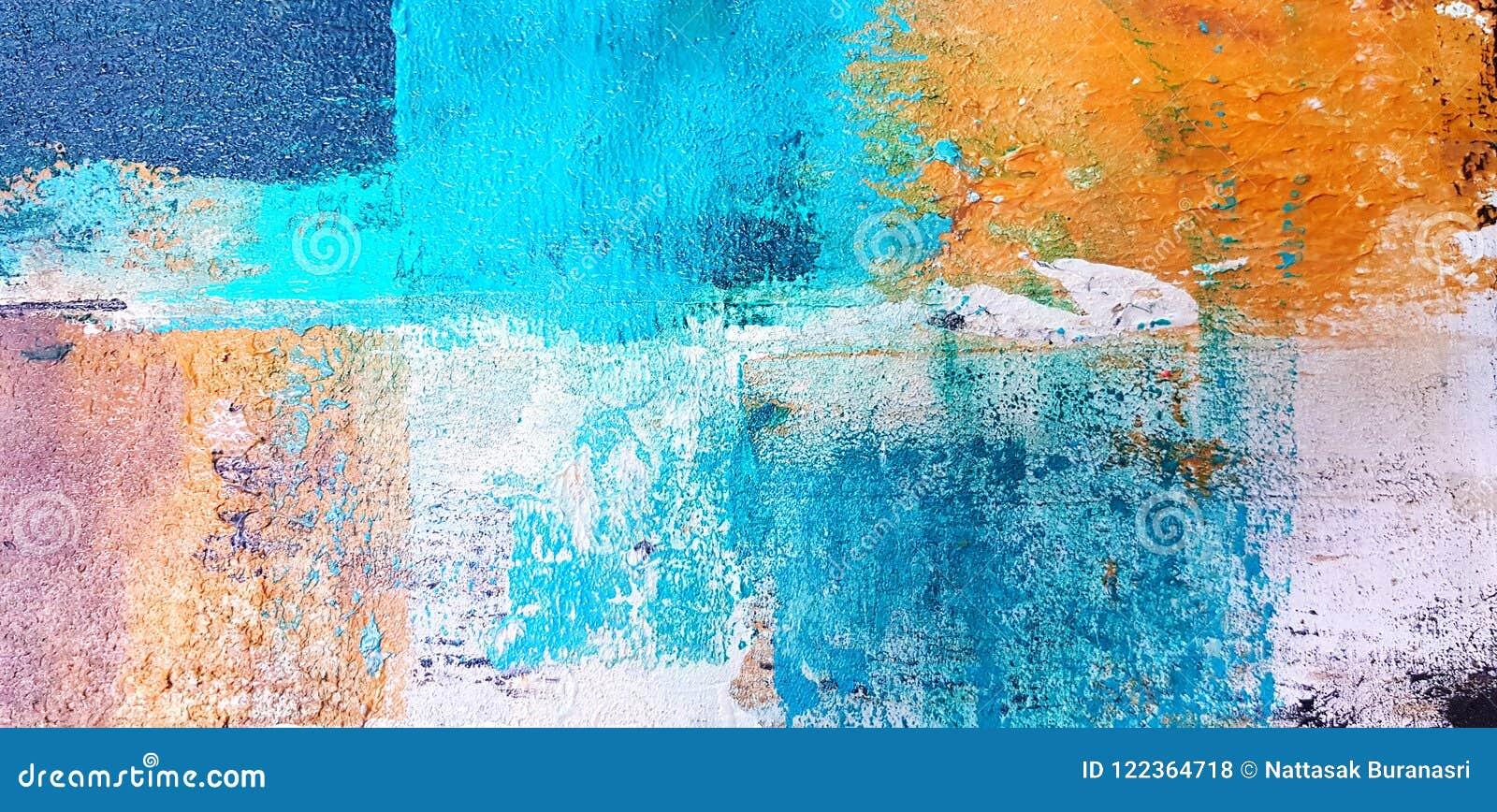 被绘的五颜六色的艺术和抽象绘画在帆布背景的通过使用丙烯酸酯的颜色样式
