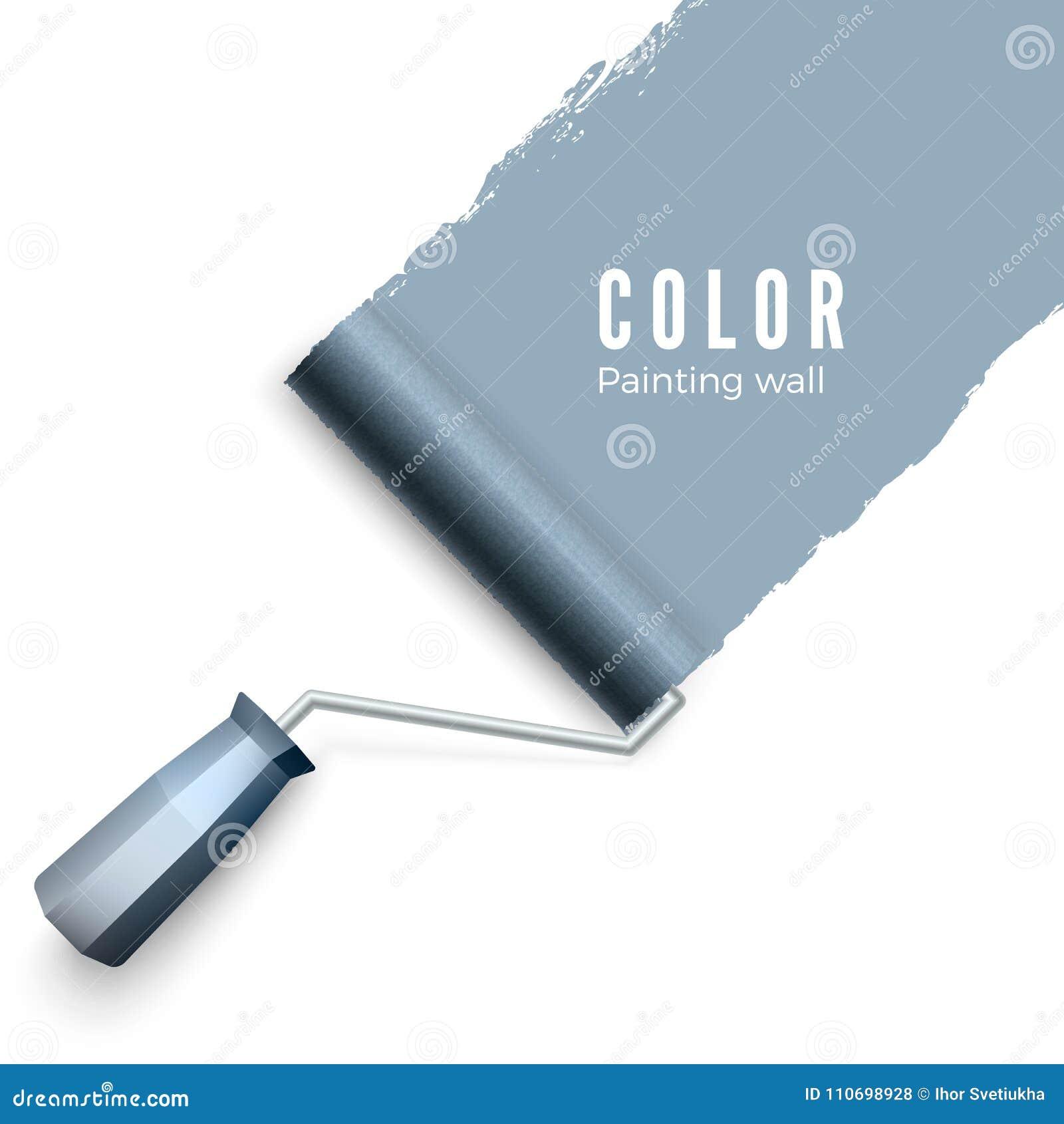 被绘的墙壁和漆滚筒 漆滚筒刷子 当绘与路辗时,上色油漆纹理 查出的向量例证