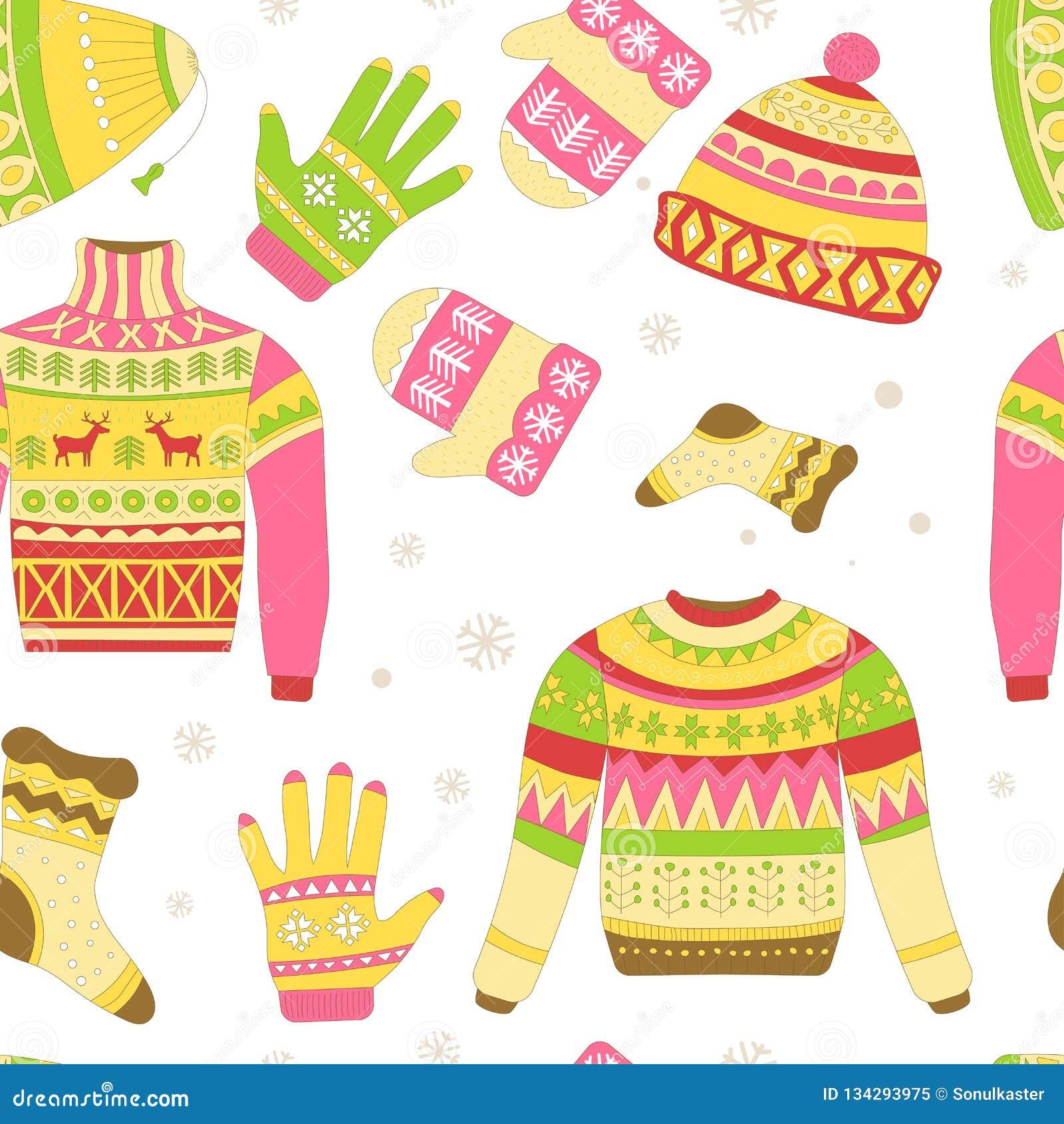 被编织的毛线衣和被隔绝的温暖的冬天帽子无缝的样式