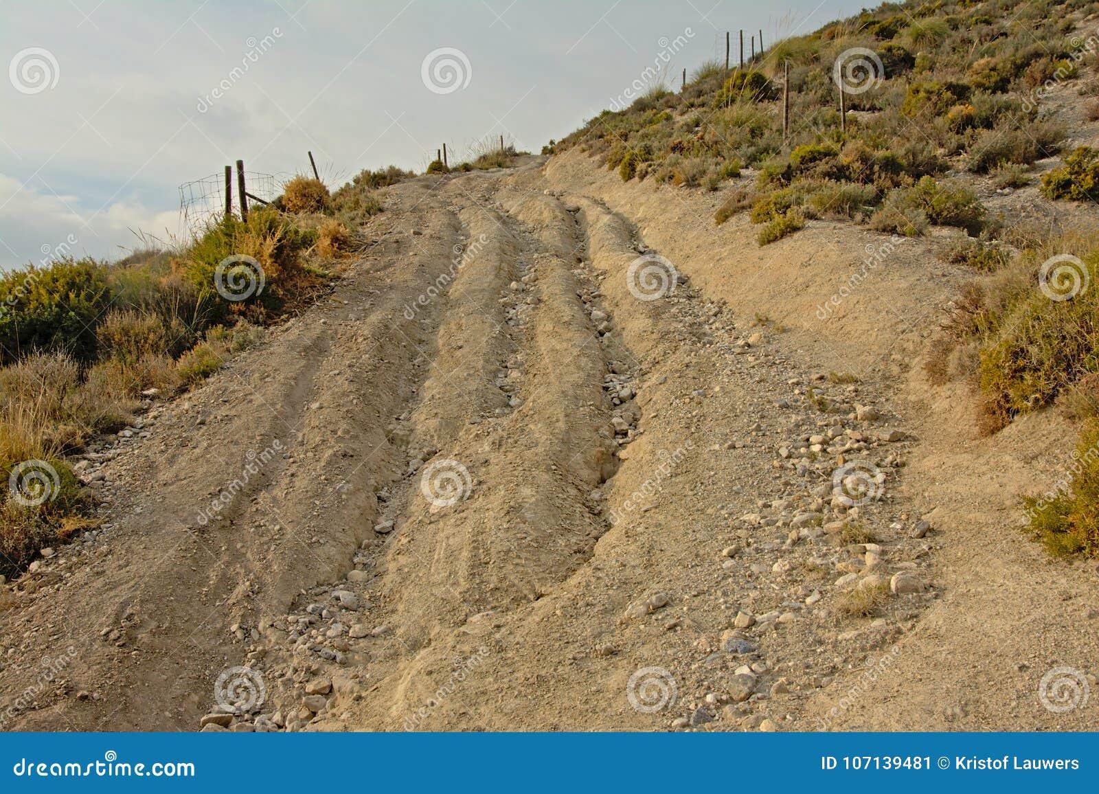 被腐蚀的土路通过与软的云彩的内华达山山晴天