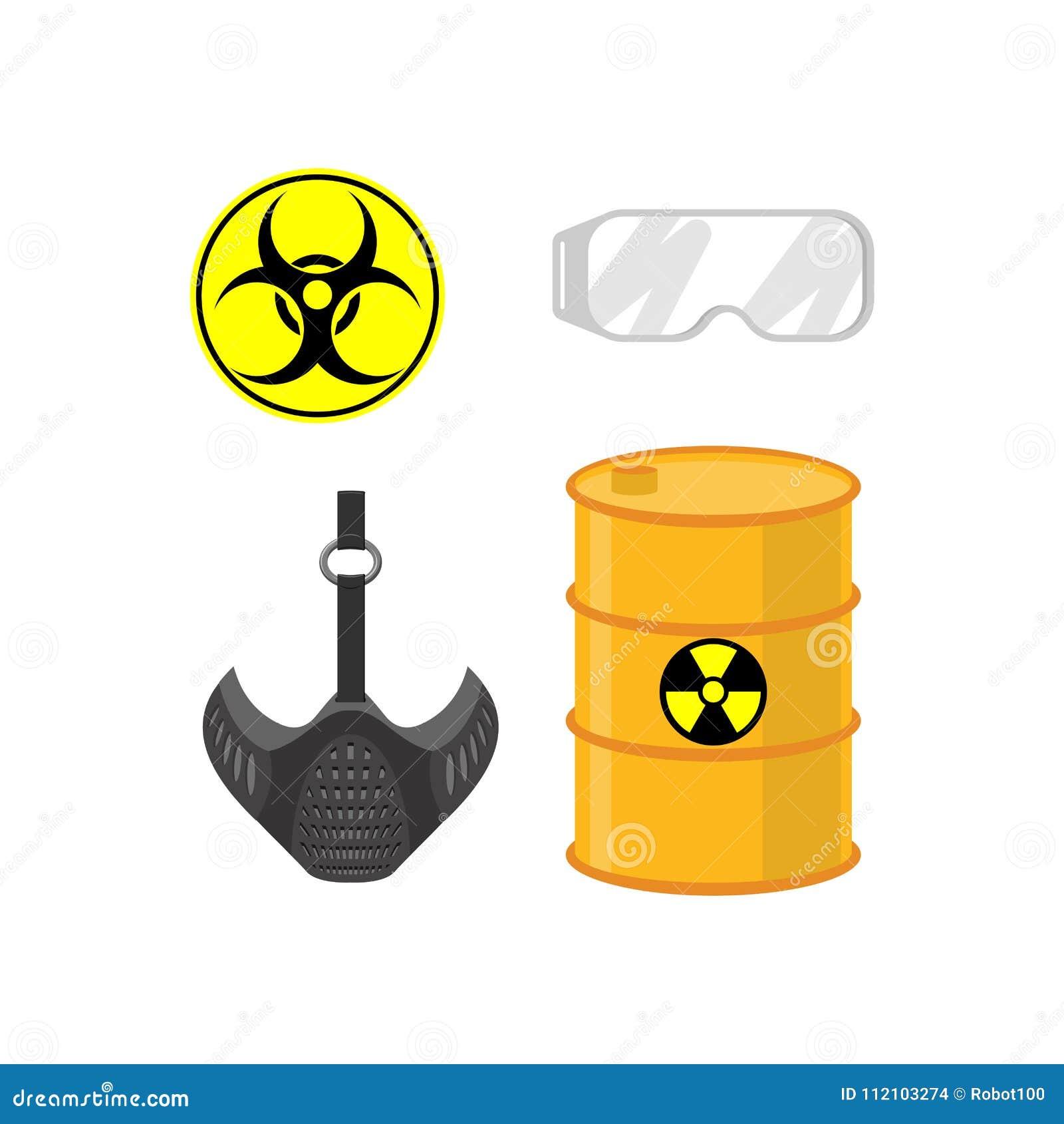 被设置的化工放射 生物废物的标志 防护气体