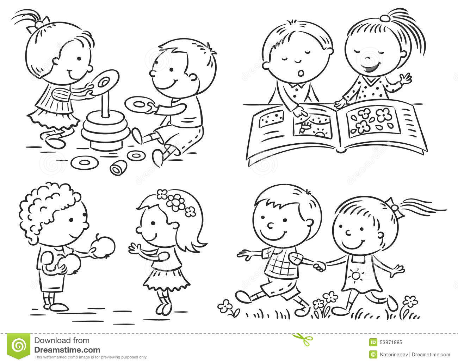 7 Formas En Que Viajar Te Ayudará A Encontrar Tu Propio: 被设置的孩子的活动,黑白 向量例证. 插画
