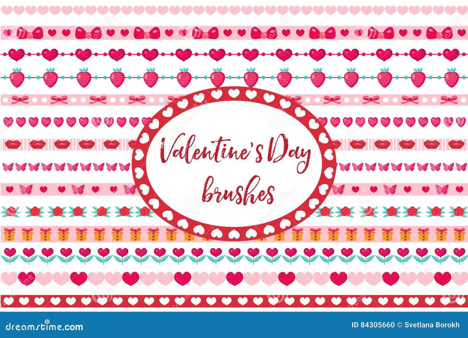 被设置的情人节边界 逗人喜爱的心脏,花装饰品 背景查出的白色