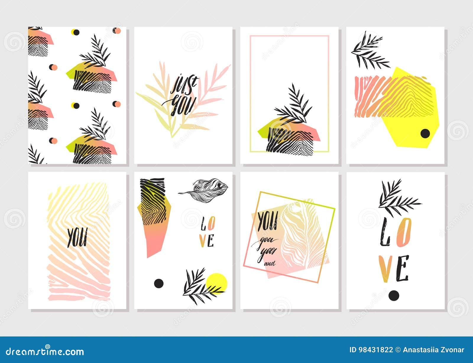 被设置的情人节-象征和卡片 也corel凹道例证向量