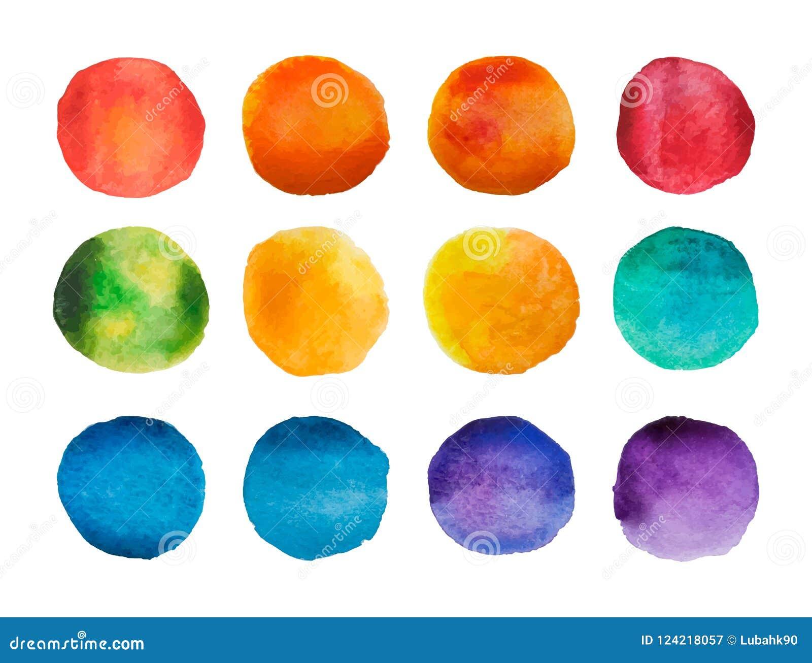 被设置的明亮的水彩圈子 彩虹水彩弄脏汇集 也corel凹道例证向量