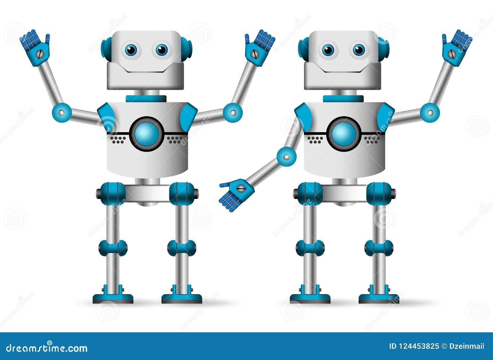 被设置的机器人字符 站立与放弃的白色靠机械装置维持生命的人吉祥人手势