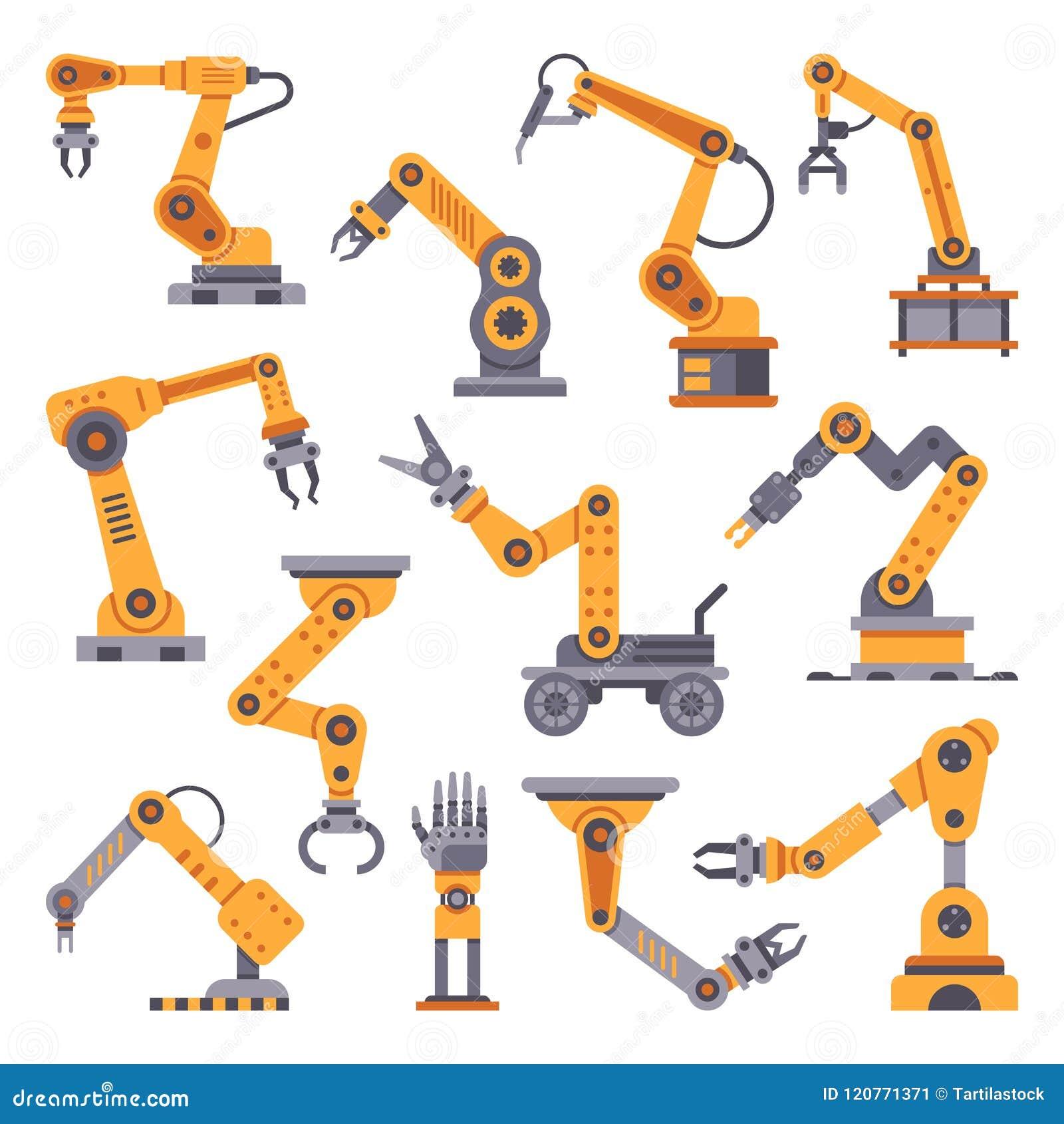 被设置的机器人胳膊 自动化生产技术 产业机器人胳膊机器 工厂装配机器人平的设计