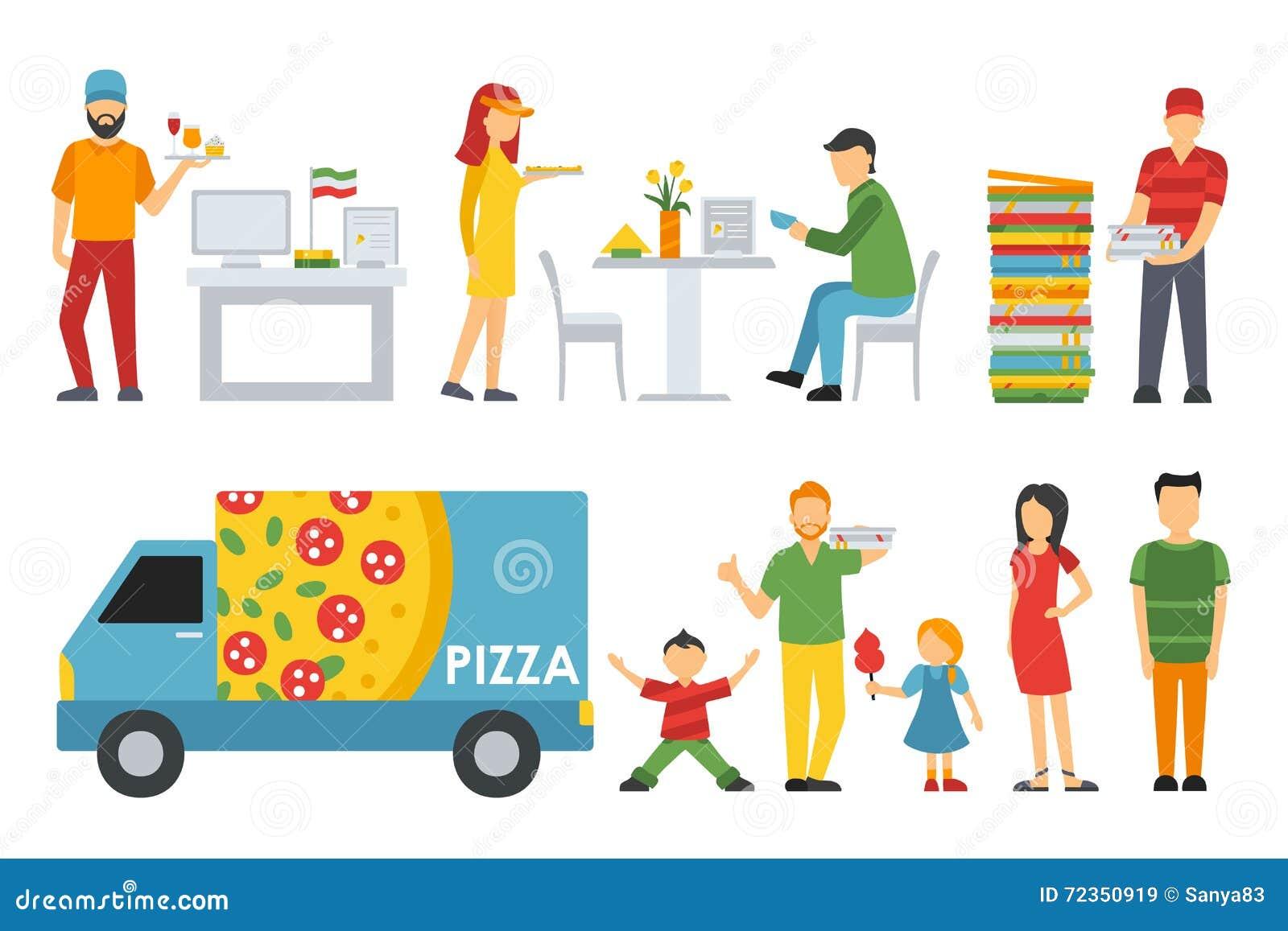 被设置的比萨店内部平的象的人们 出纳员,顾客,小餐馆,侍者,交付,汽车 薄饼概念网