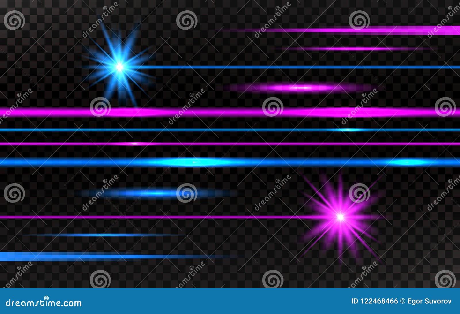 被设置的激光束 桃红色和蓝色水平的光线 在透明背景的抽象明亮的线 盒射线