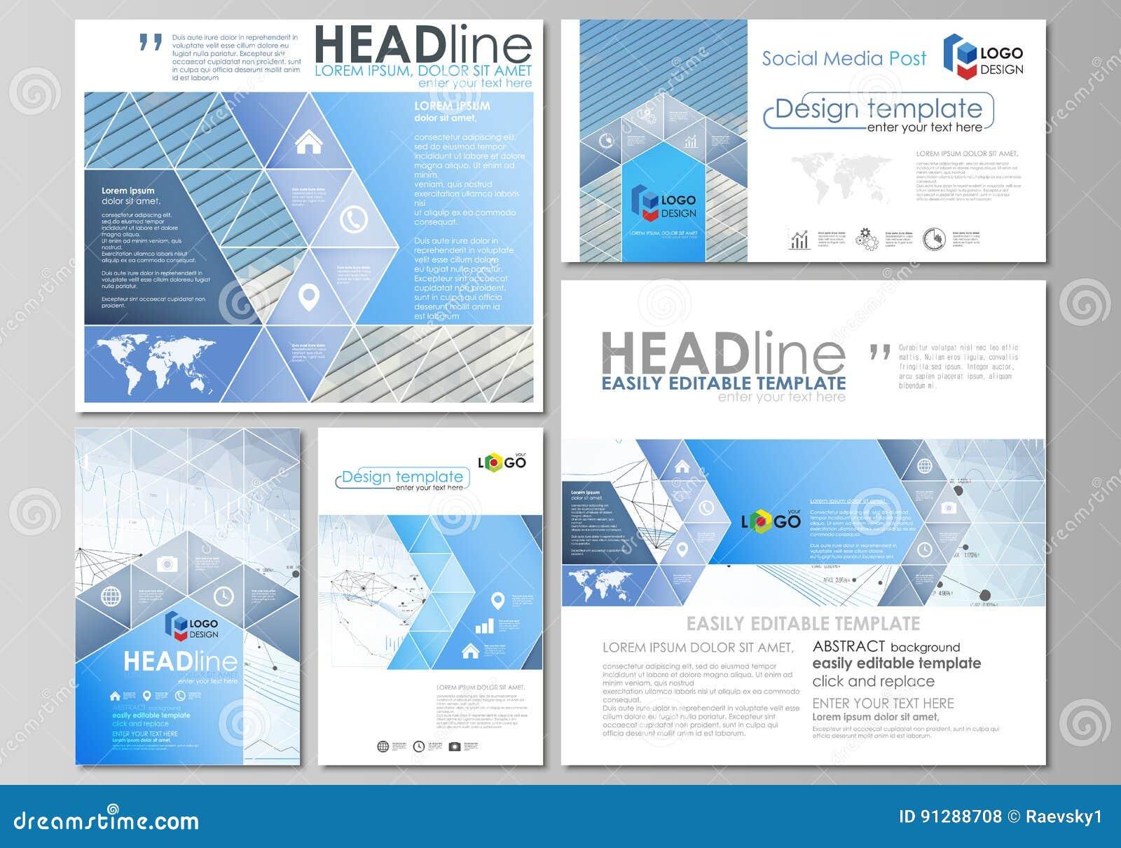 被设置的社会媒介岗位 企业总公司例证样式模板 传染媒介布局以普遍的格式 infographic蓝色颜色的摘要