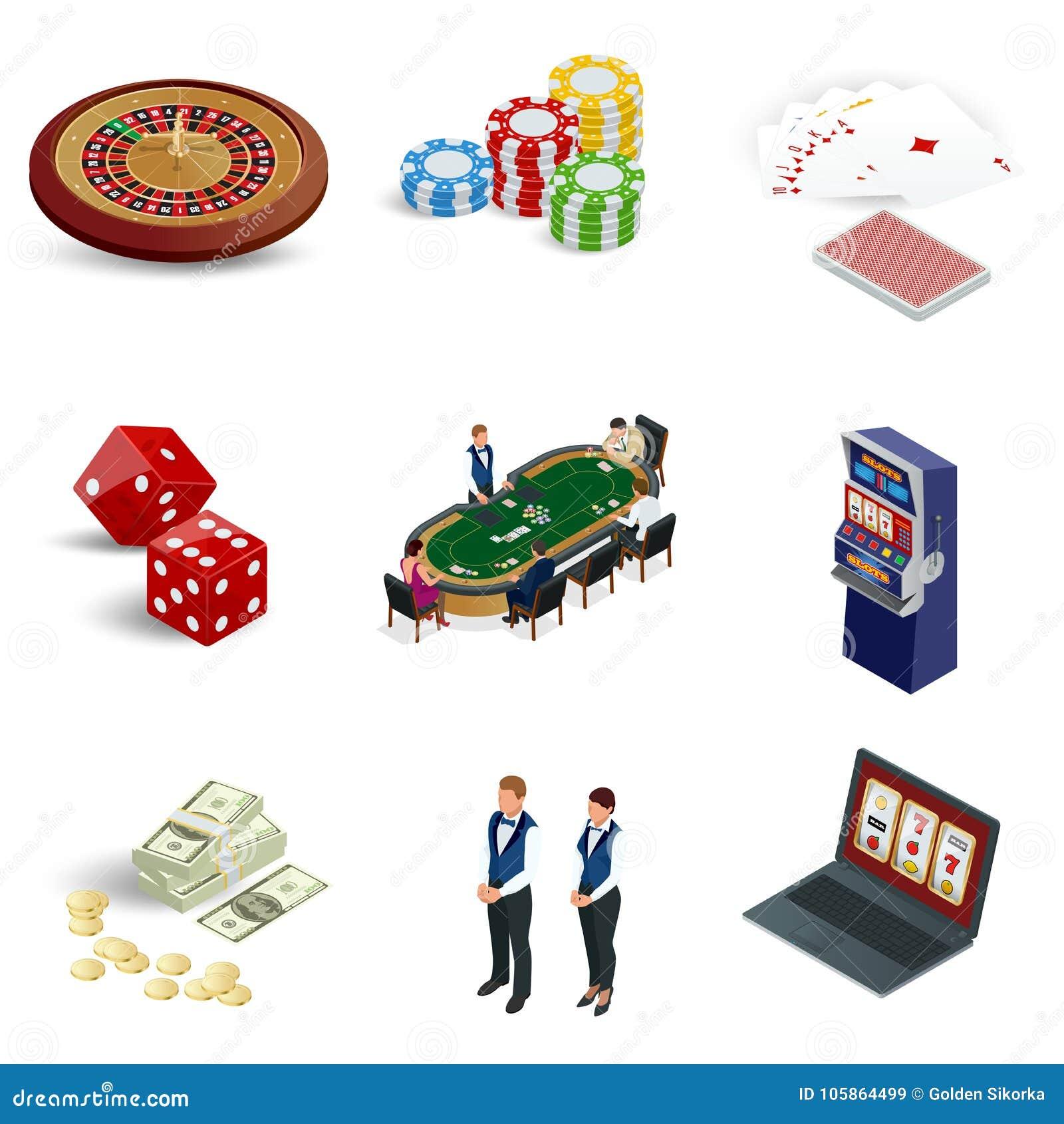 被设置的等量赌博娱乐场象 有轮盘赌、老虎机、模子、被隔绝的赌博娱乐场芯片和纸牌的膝上型计算机