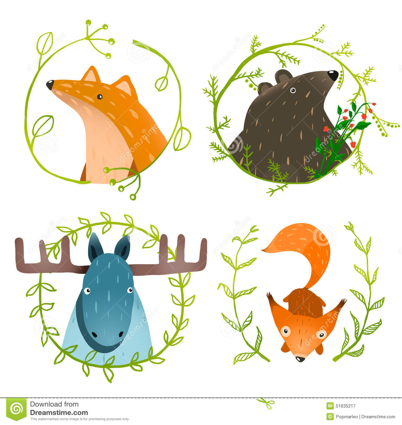 被设置的野生森林动物图片