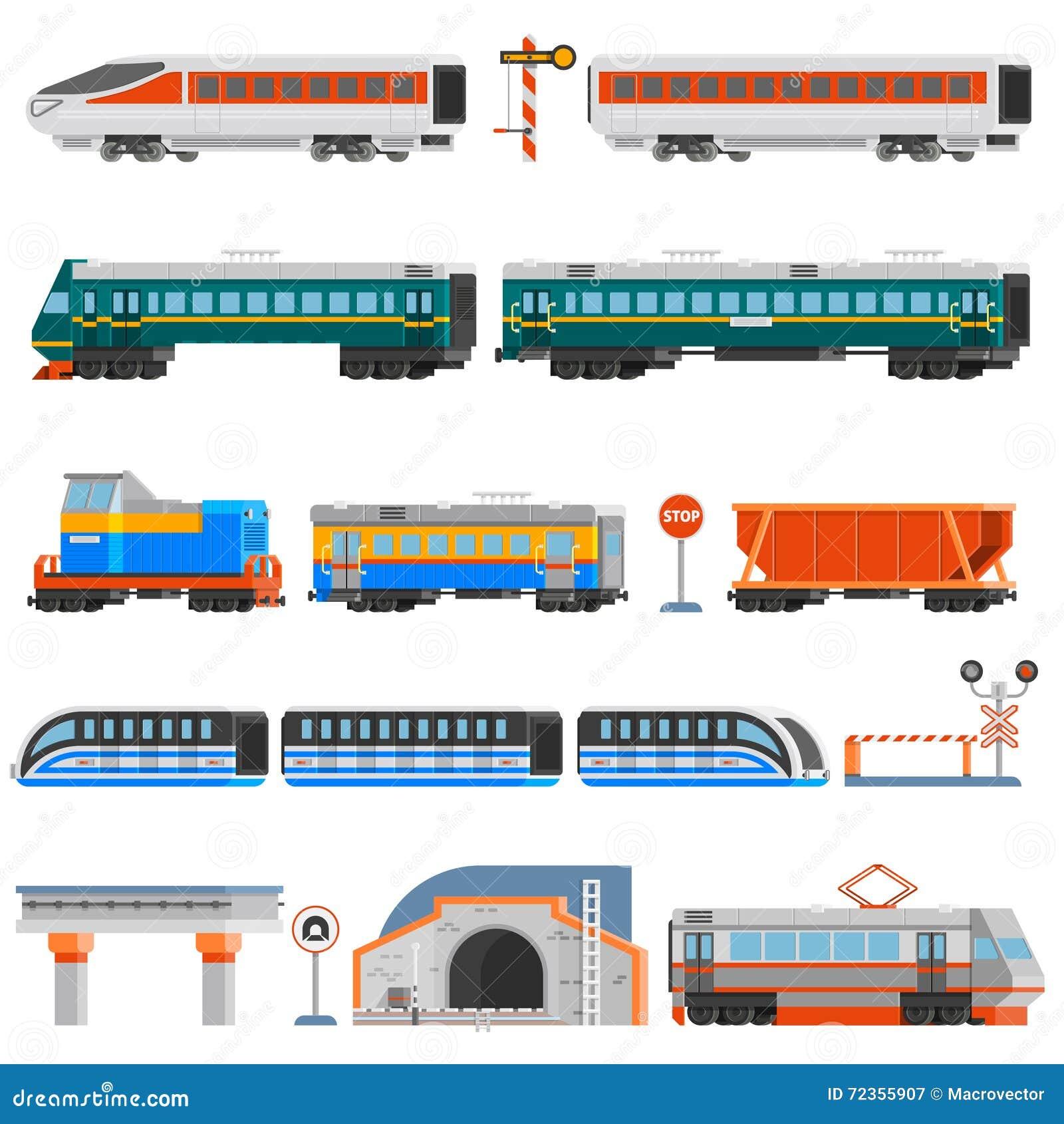 被设置的铁路运输平的五颜六色的象
