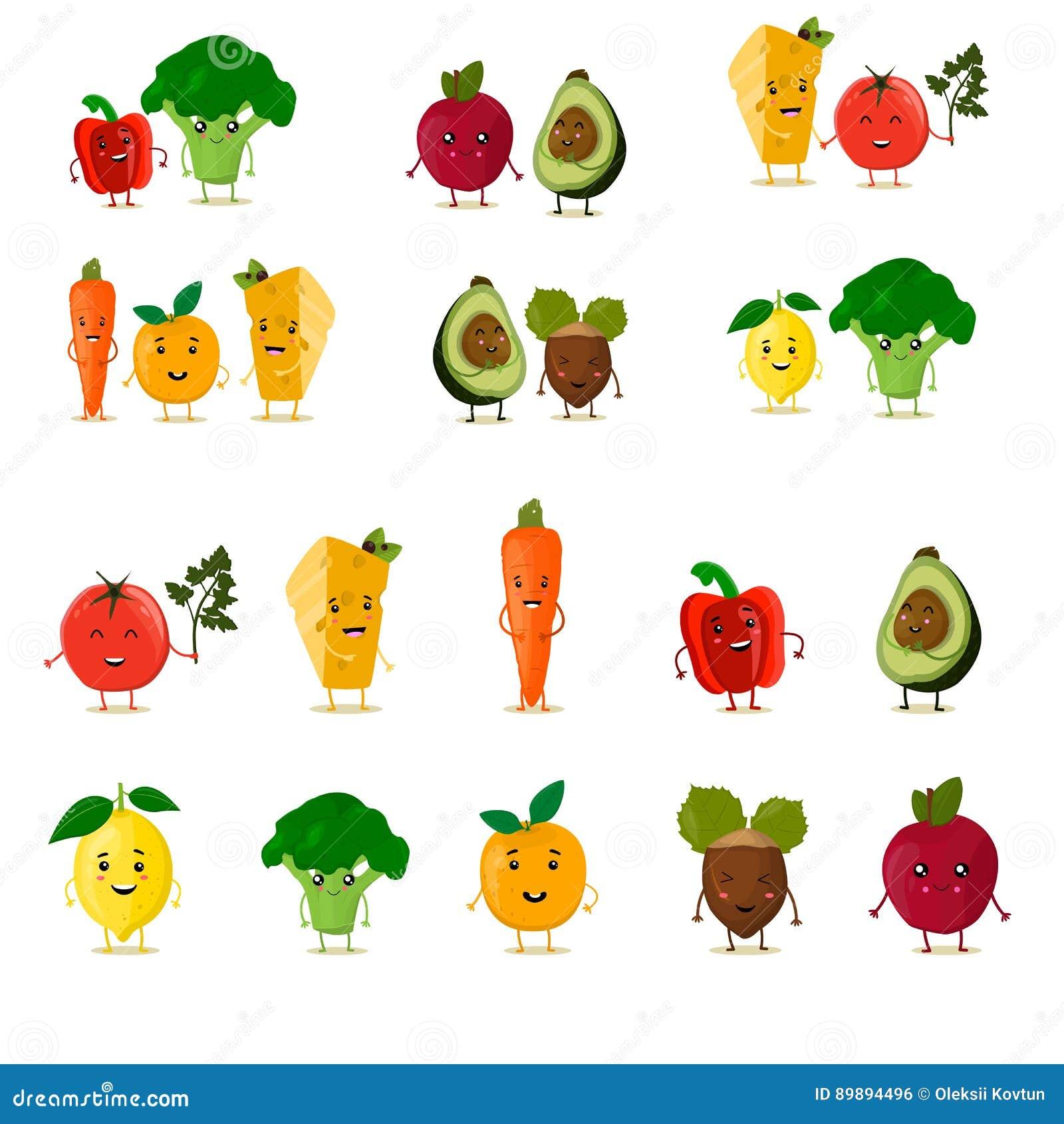 被设置的滑稽的果子 逗人喜爱的水果和蔬菜收藏 动画片食物字符 也corel凹道例证向量 查出在白色