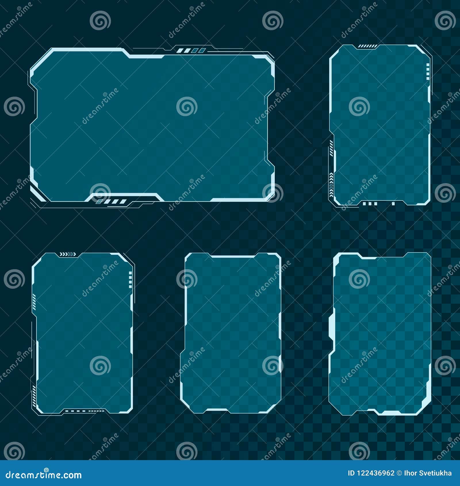 被设置的HUD未来派用户界面屏幕组成元素 抽象控制板布局设计 科学幻想小说真正技术显示 向量
