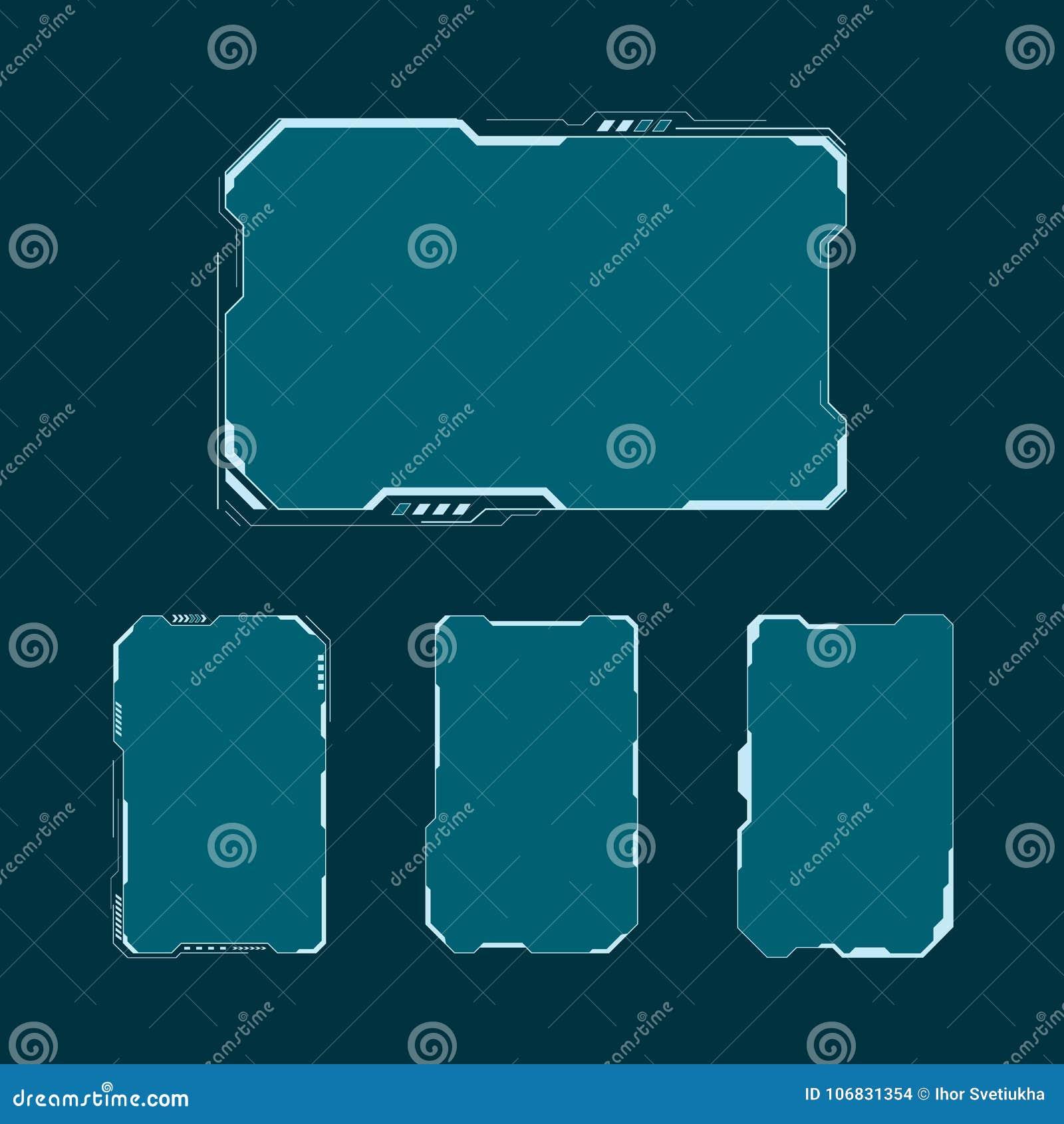 被设置的HUD未来派用户界面屏幕组成元素 抽象控制板布局设计 传染媒介例证科学幻想小说真正技术d
