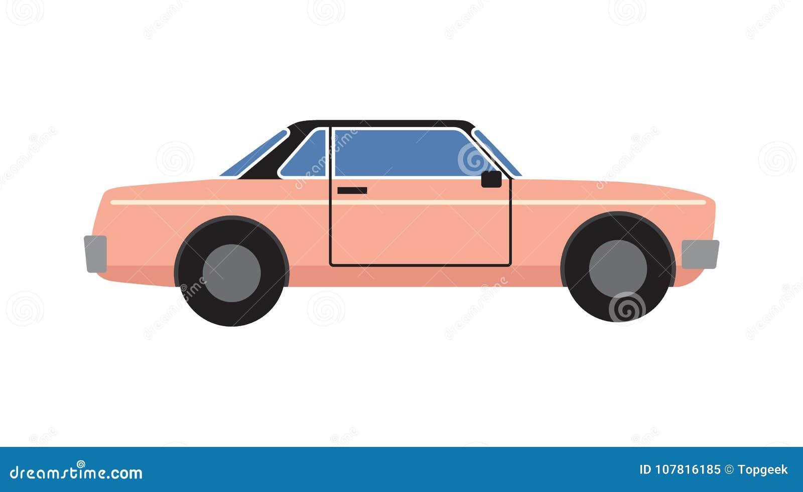 被隔绝的桃红色减速火箭的小轿车汽车传染媒介例证