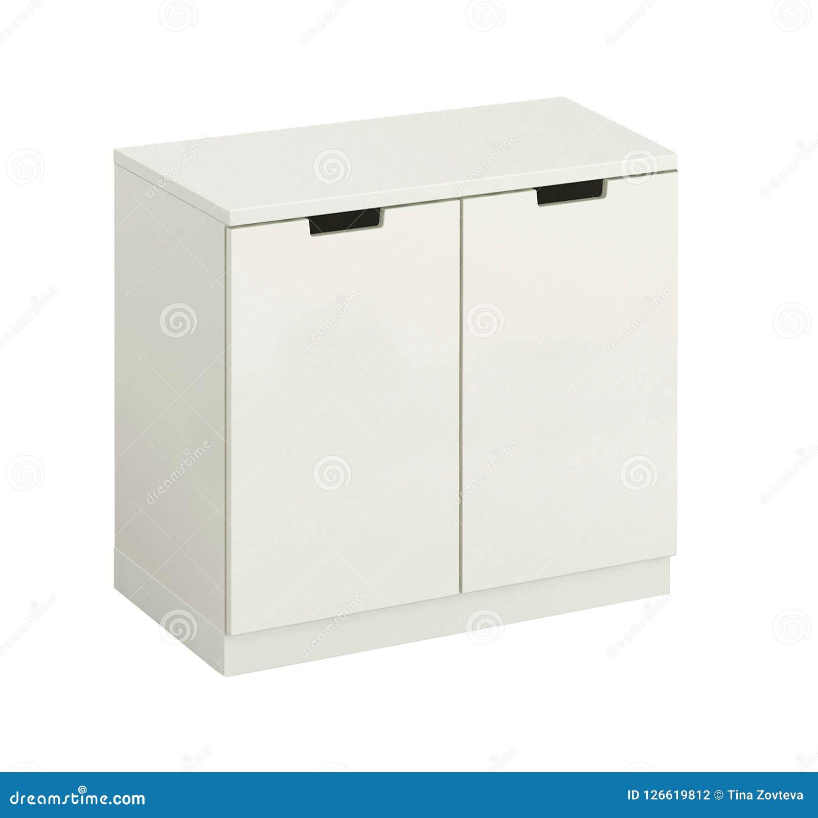 被隔绝的美丽的白色木现代碗柜
