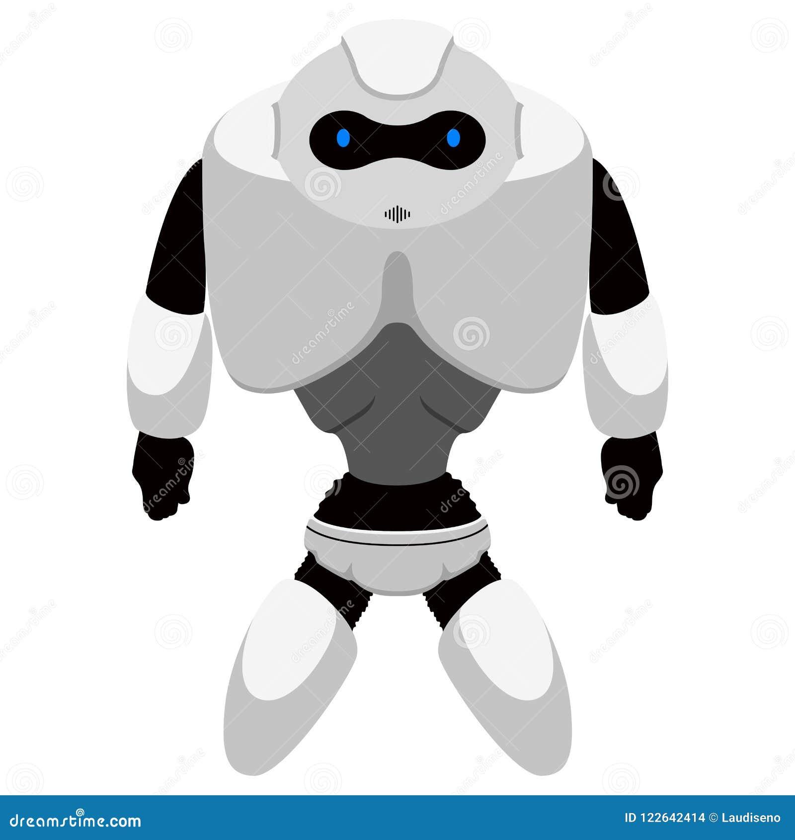 被隔绝的逗人喜爱的机器人象