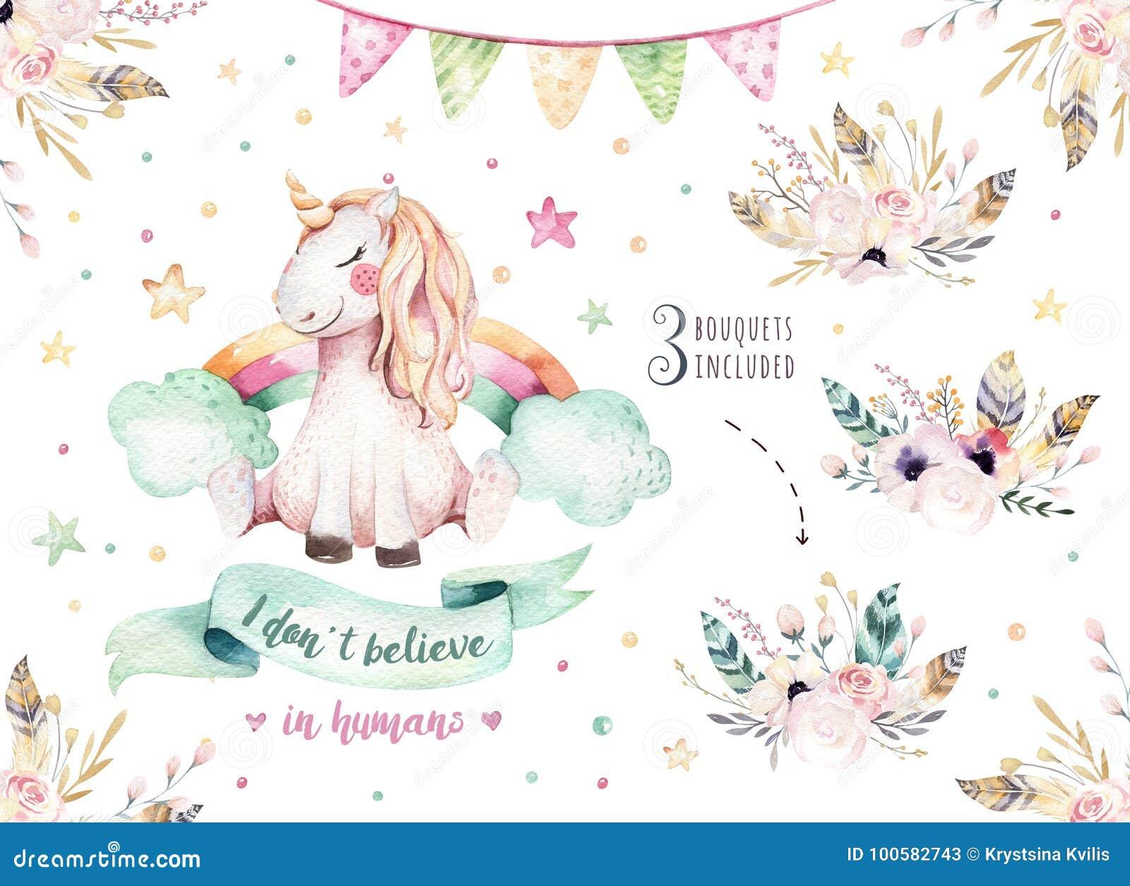 被隔绝的逗人喜爱的水彩独角兽clipart 托儿所独角兽例证 公主彩虹独角兽海报 时髦粉红色
