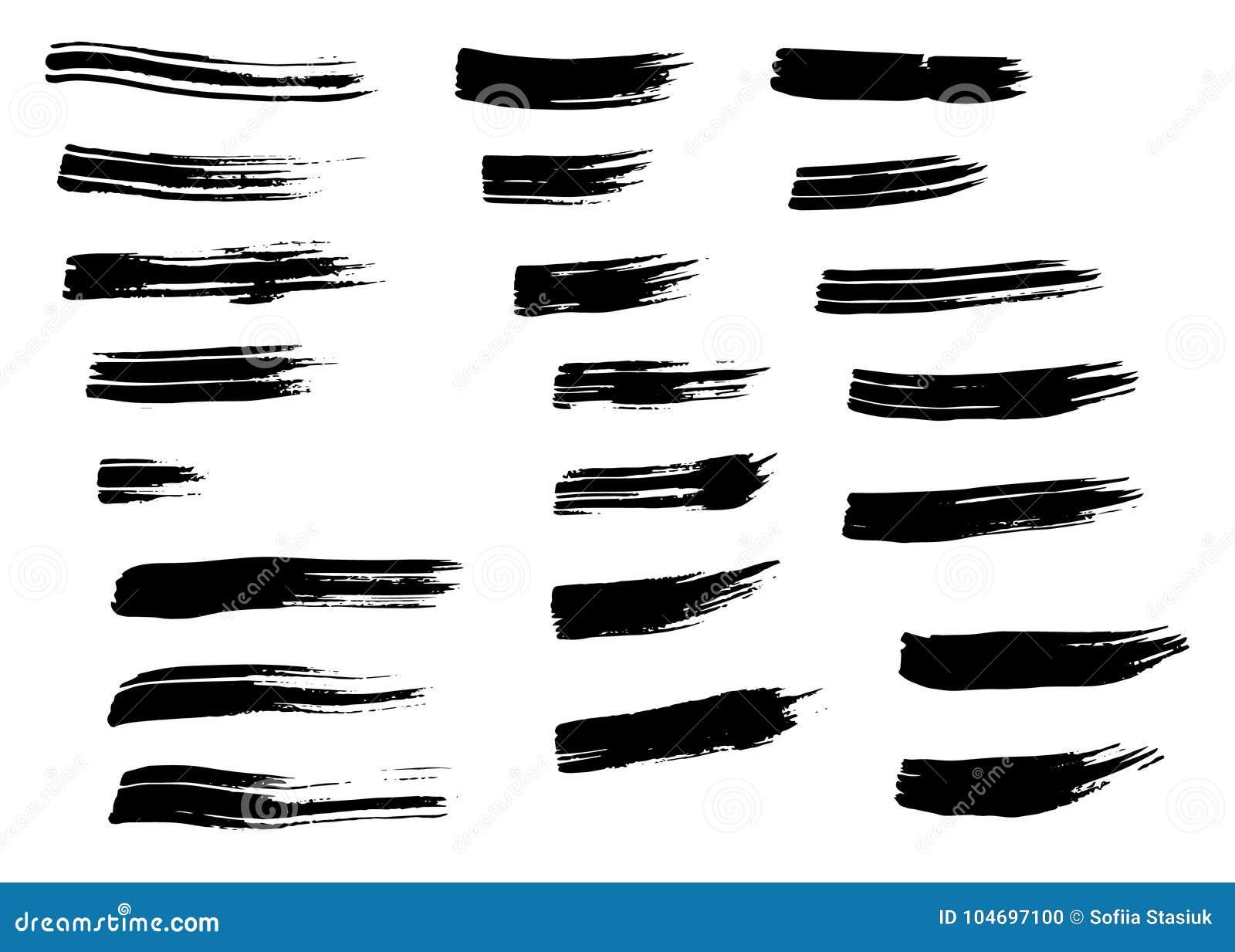 被隔绝的难看的东西黑手拉的刷子冲程 不同的干燥传染媒介刷子冲程
