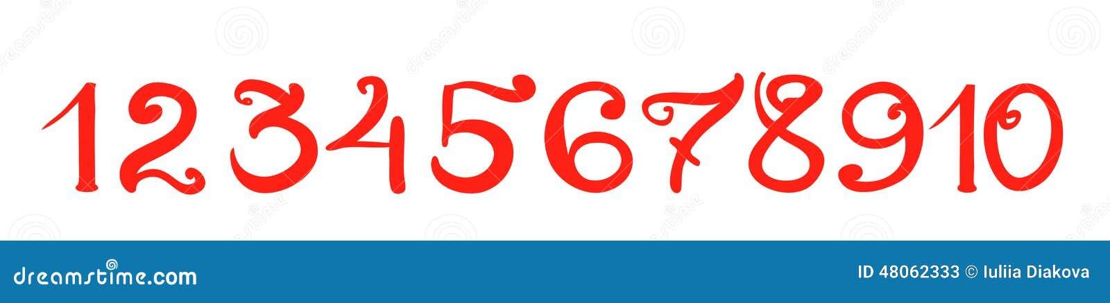 在白色隔绝的手写的红色数字.图片