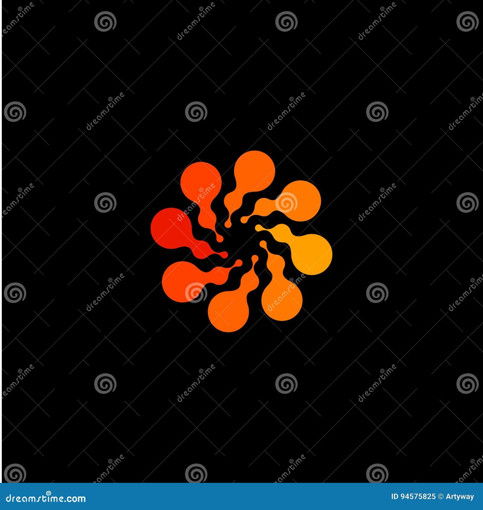 被隔绝的抽象圆形橙色颜色商标,在黑背景,漩涡传染媒介的被加点的风格化太阳略写法