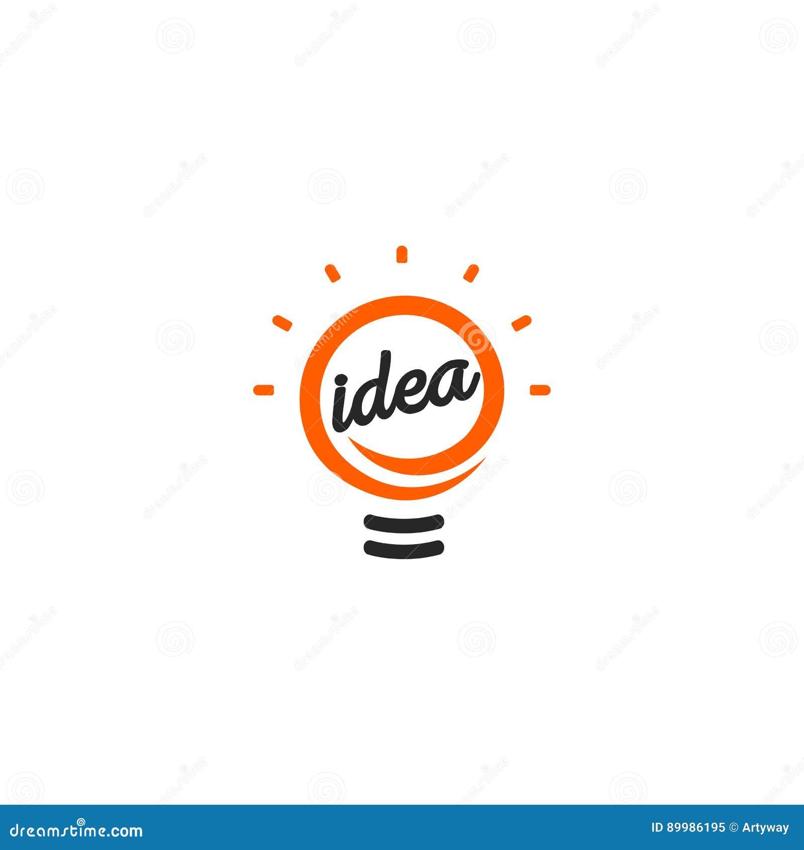 被隔绝的抽象橙色颜色电灯泡等高略写法,点燃在白色背景的商标,想法标志传染媒介