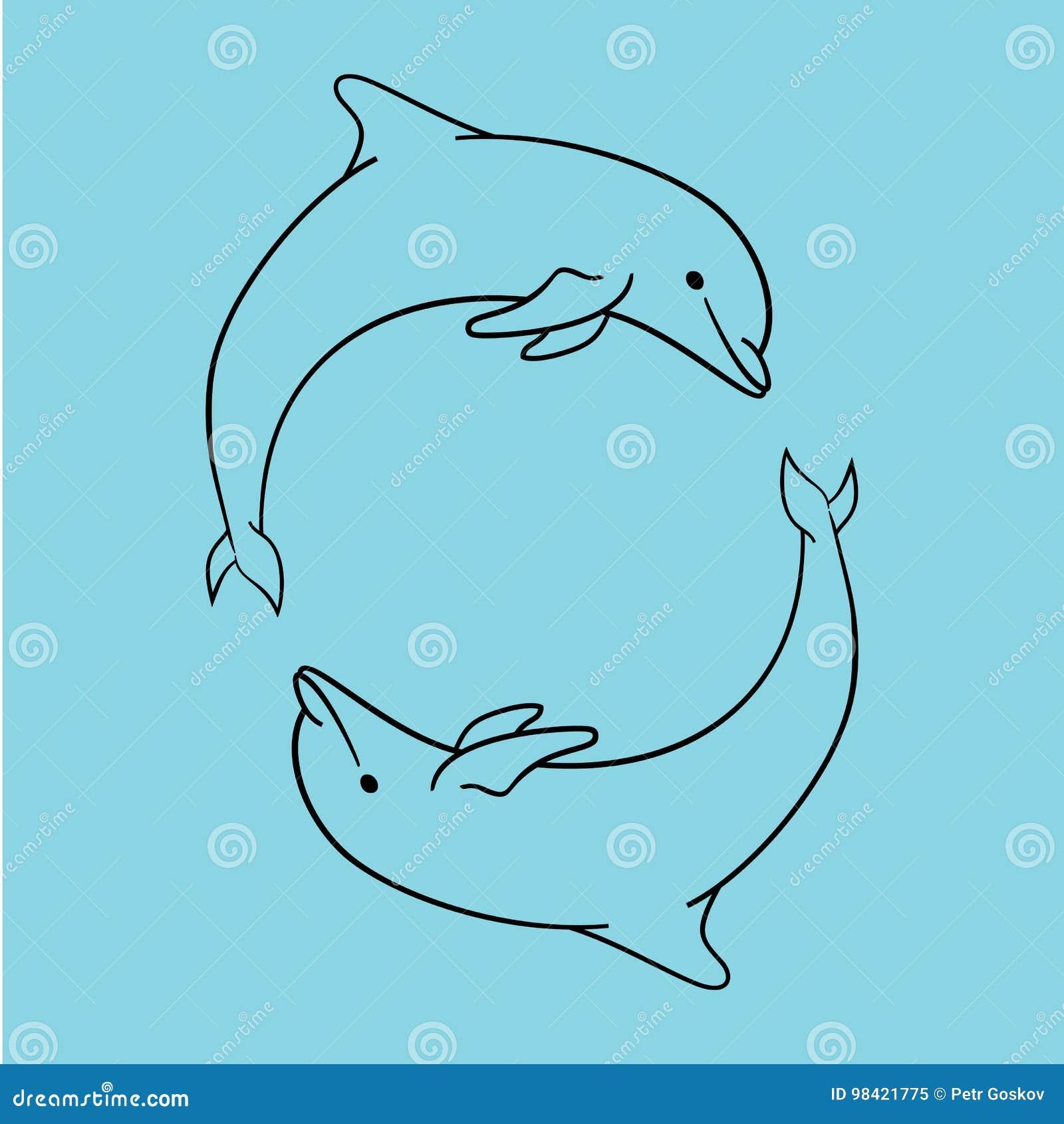 被隔绝的海豚象蓝色概述样式