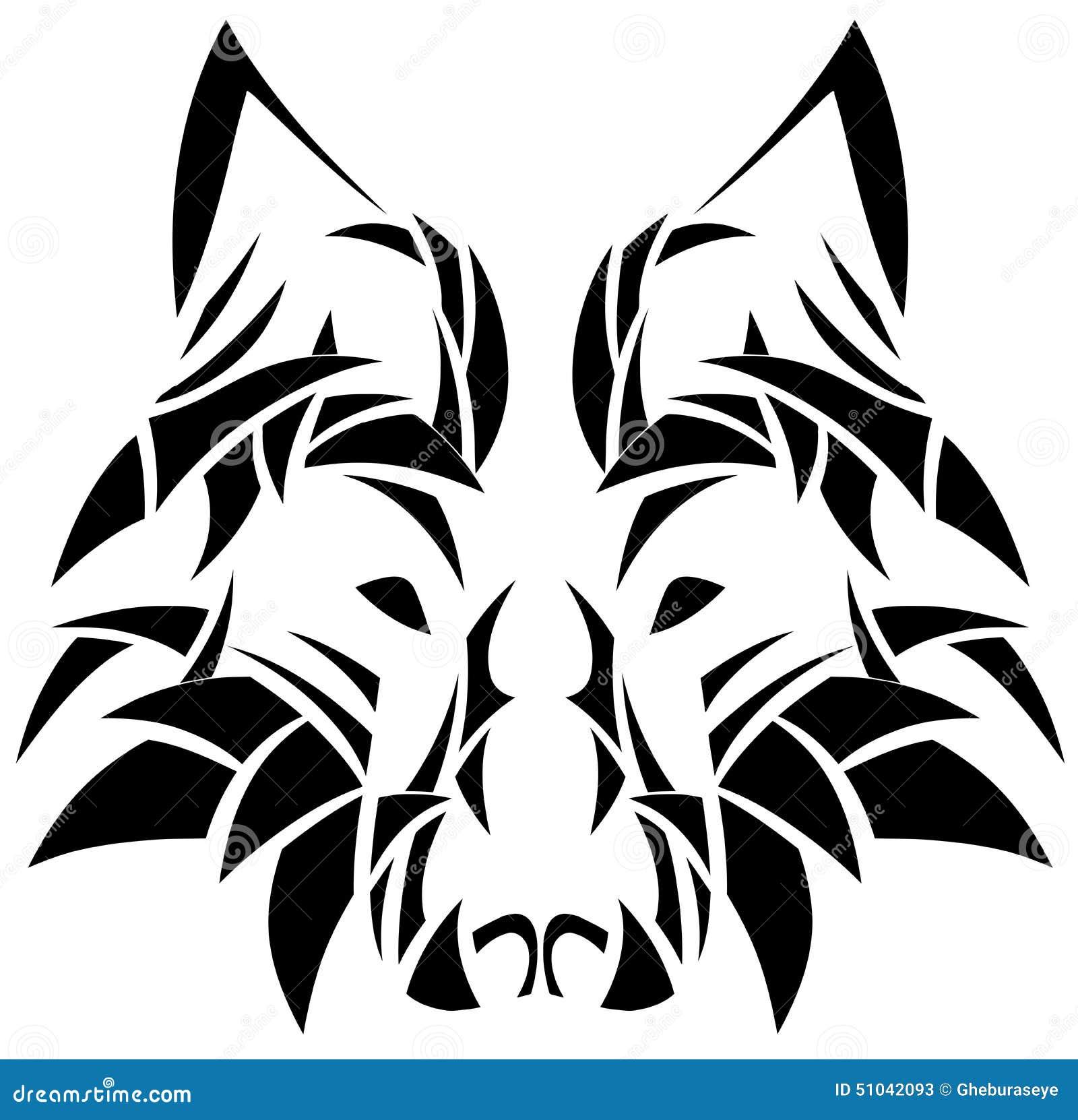 被隔绝的艺术性的狼面孔纹身花刺