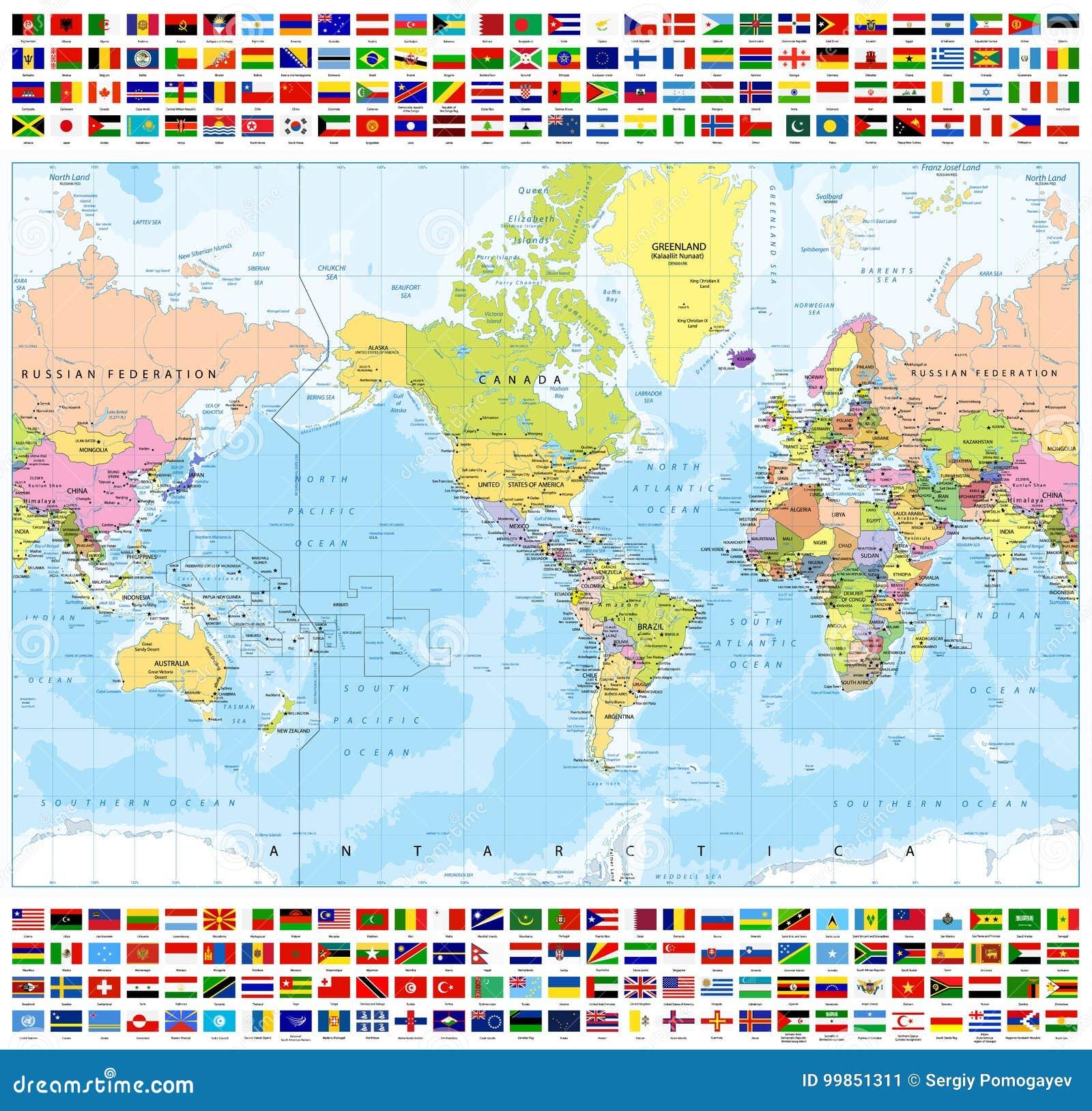 被集中的美国政治世界地图和所有世界国旗