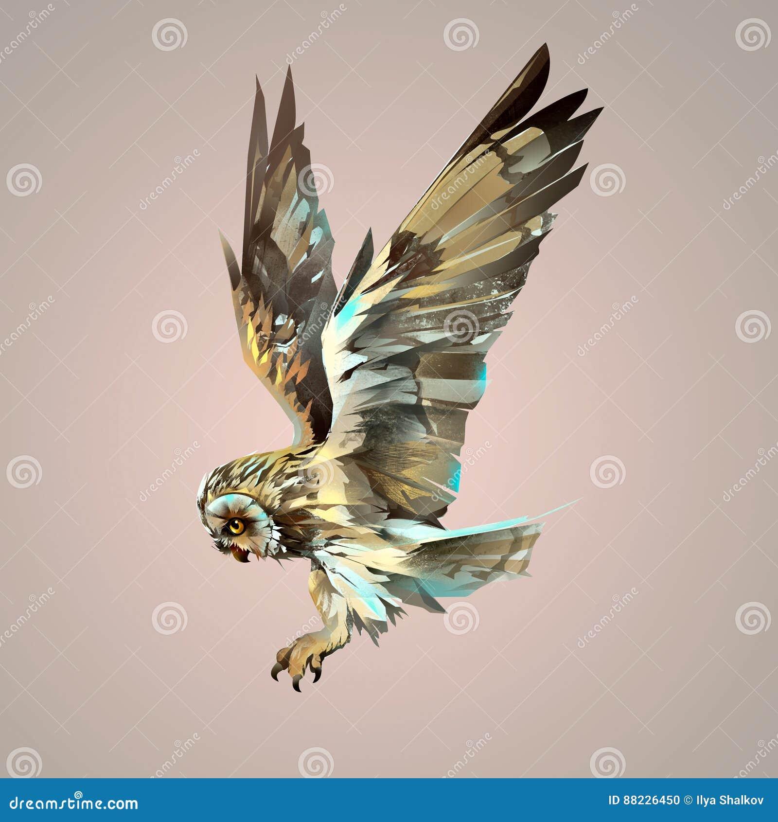 被绘的明亮的被隔绝的飞行的猫头鹰
