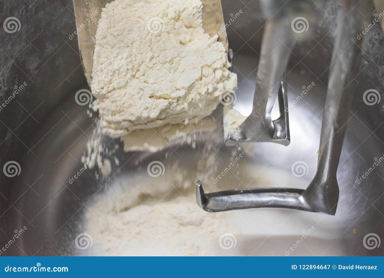 装货面粉到一台工业揉面机里 关闭视图