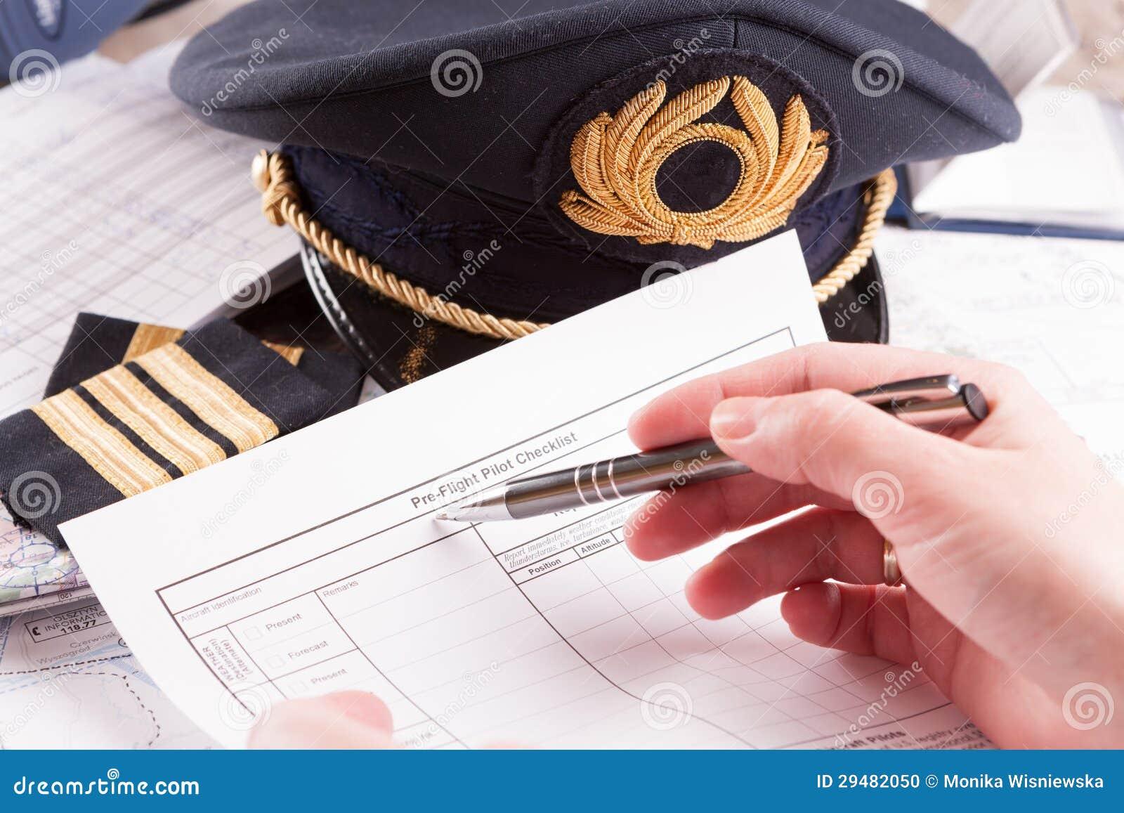 装载在飞行中计划的飞机飞行员